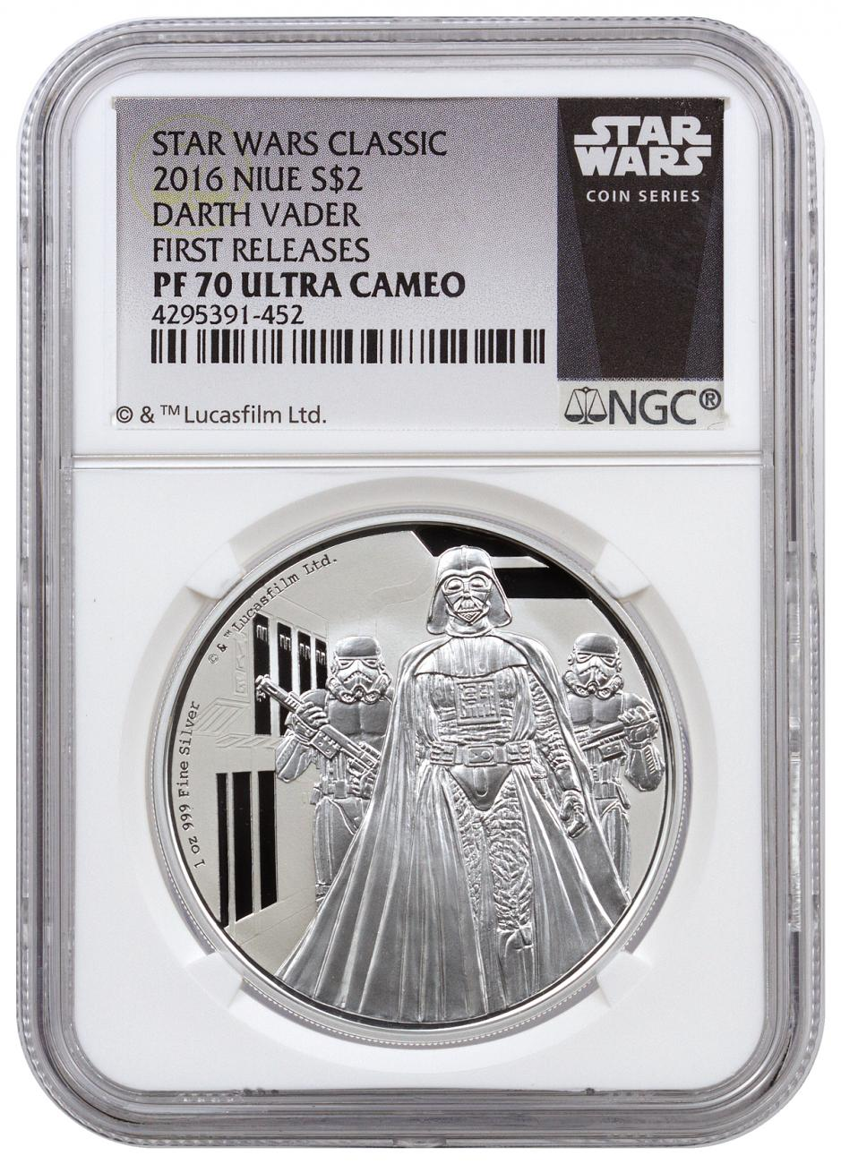 2016 Niue Star Wars Classic - Darth Vader 1 oz Silver Proof $2 NGC PR70 FR (Exclusive Star Wars Label)