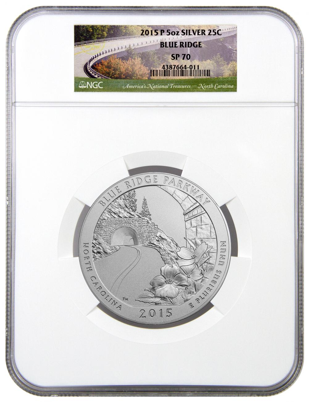 2015-P Blue Ridge 5 oz. Silver America the Beautiful Specimen Coin NGC SP70