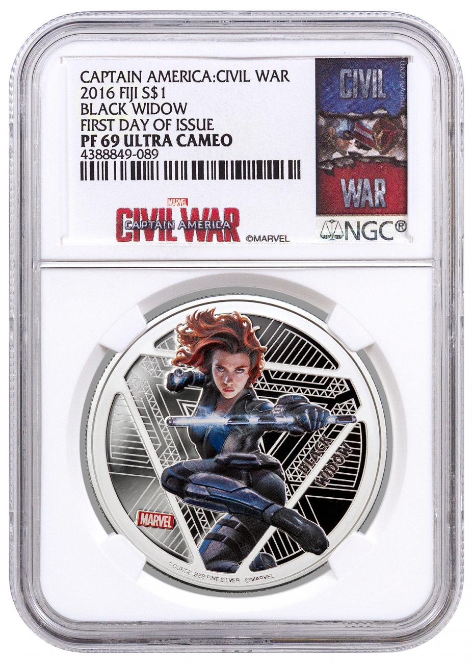 2016 Fiji $1 1 oz. Proof Silver Marvel Captain America: Civil War - Black Widow - NGC PF69 UC First Day of Issue