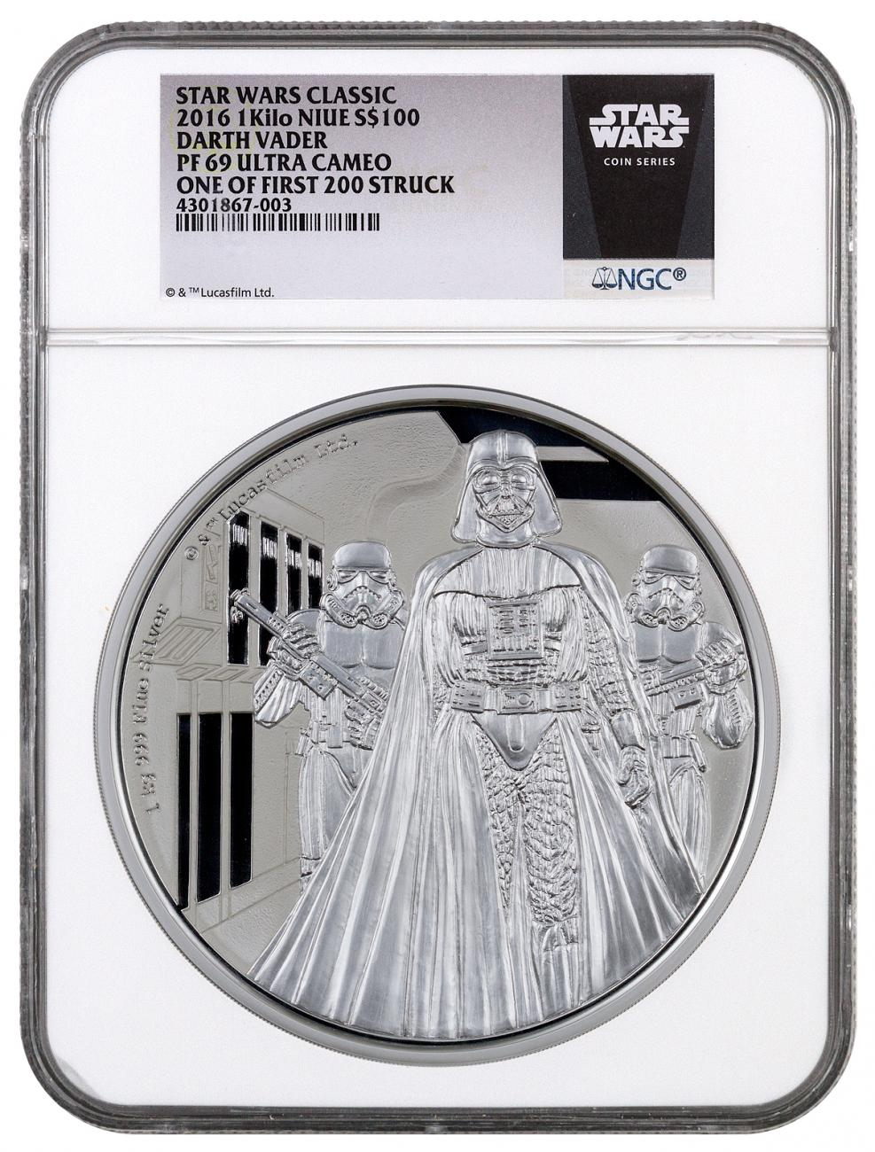 2016 Niue $100 1 Kilo Proof Silver Star Wars Classics Series - Darth Vader - NGC PF69 UC One of First 200 Struck (Exclusive Star Wars Label)