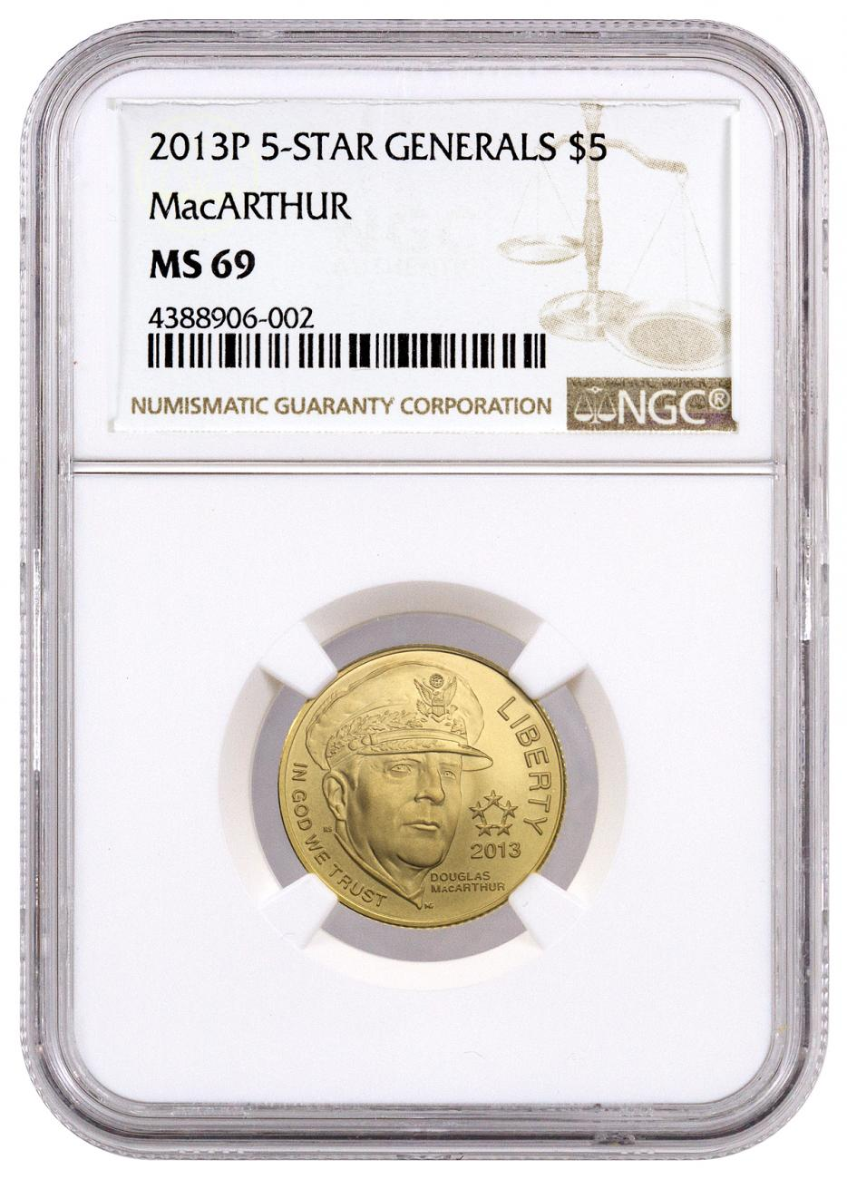 2013-P Five Star Generals - MacArthur $5 Gold Commemorative Coin NGC MS69