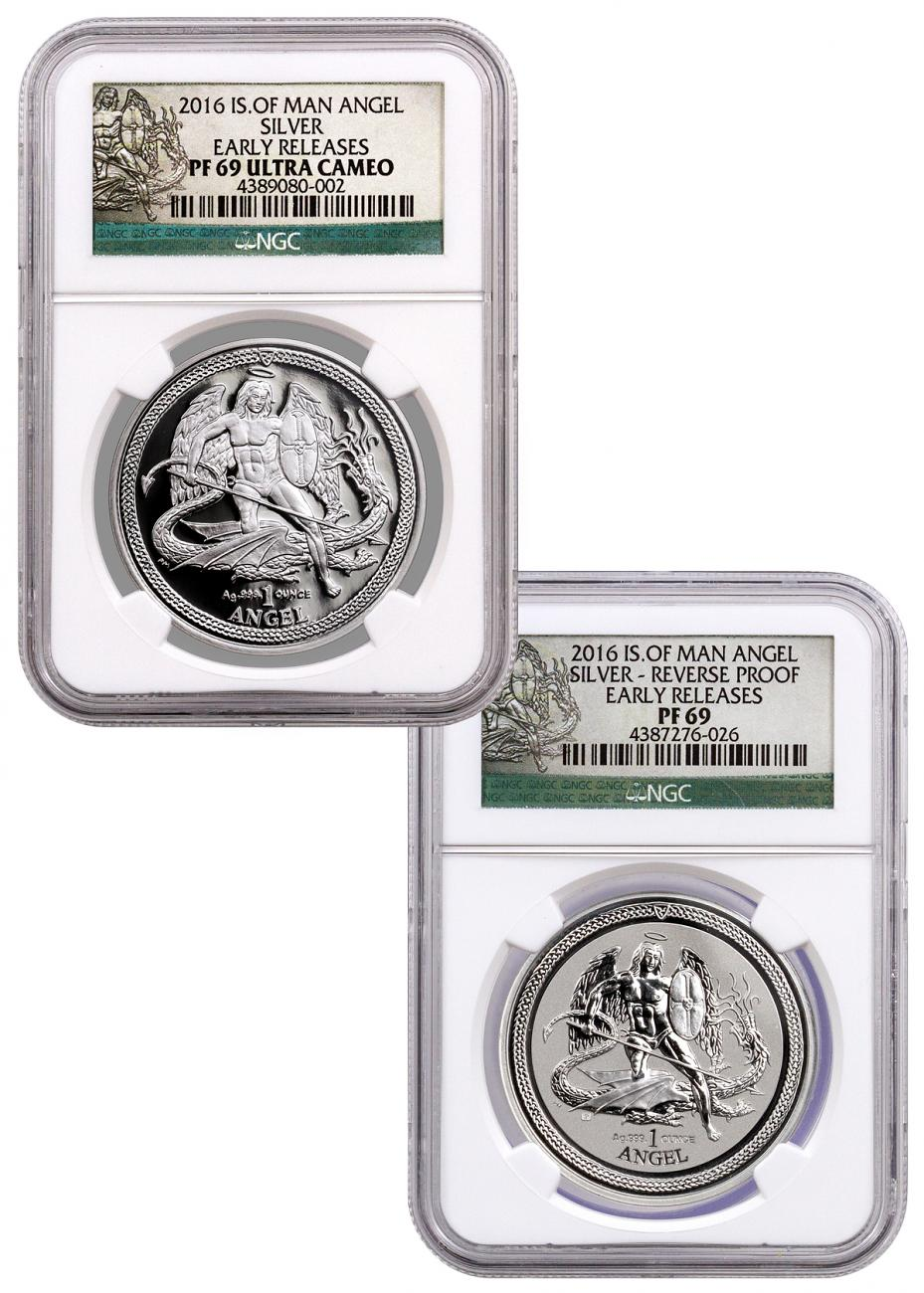 2016 Isle of Man 1 oz. Proof and Reverse Proof Silver Angel - Set of 2 Coins  - NGC PF69 Early Releases (Angel Label)