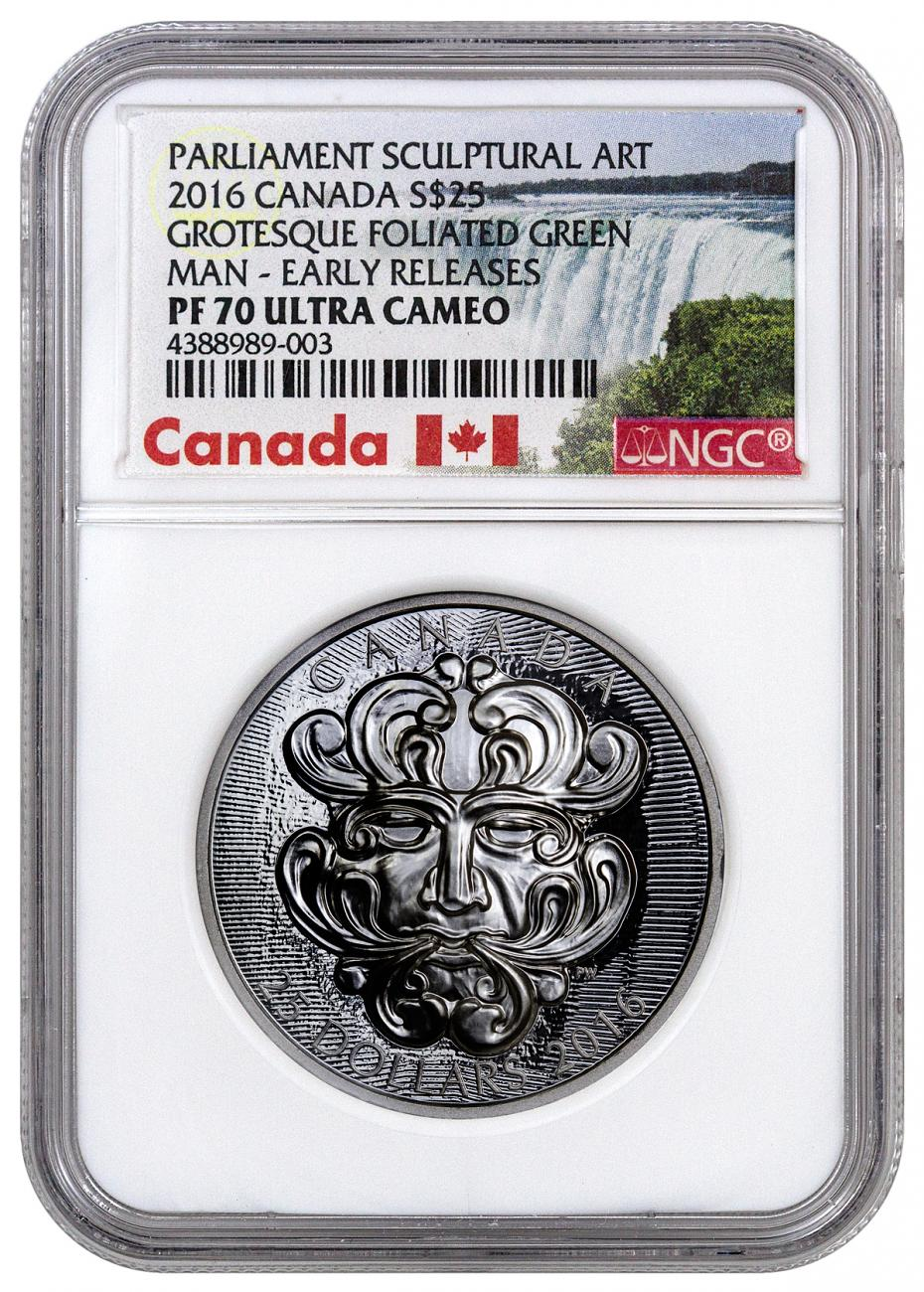2016 Canada $25 1 oz. Ultra High Relief Proof Silver Sculptural Art of Parliament - Grotesque Foliated Green Man - NGC PF70 UC Early Releases (Exclusive Canada Label)