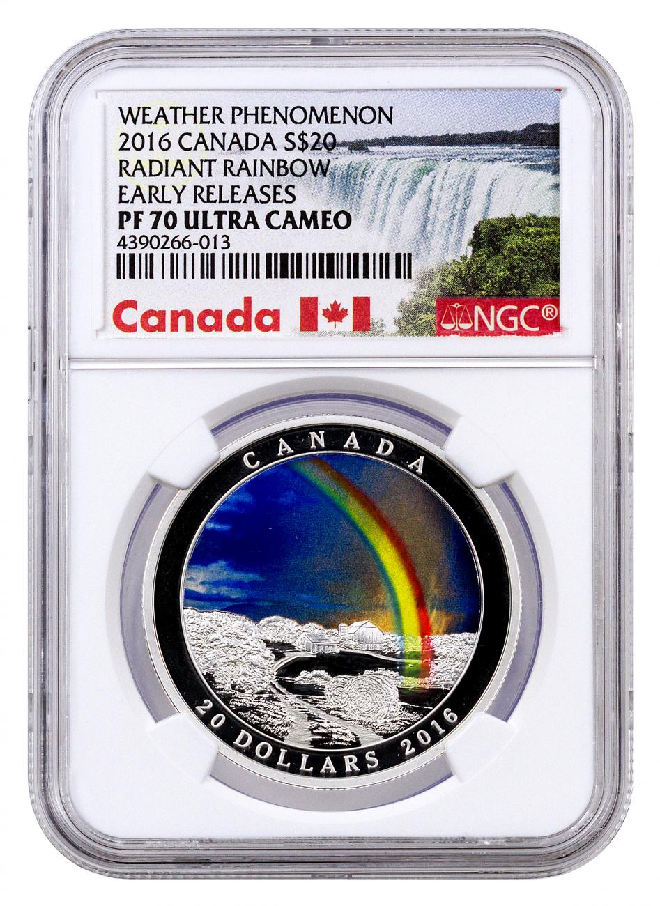 2016 Canada $20 1 oz. Colorized Proof Silver Weather Phenomenon - Radiant Rainbow - NGC PF70 UC Early Releases (Exclusive Canada Label)