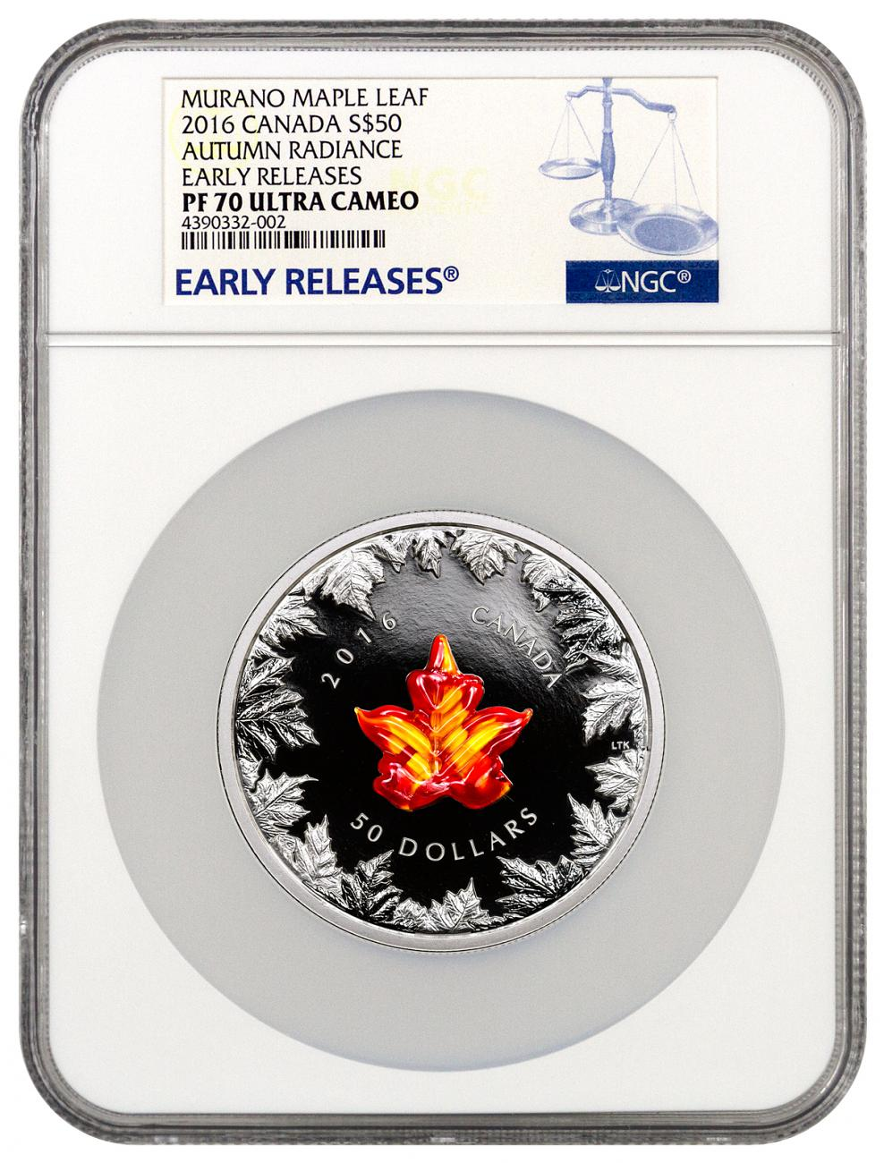 2016 canada murano glass maple leaf autumn radiance 5 oz silver proof 50 ngc pf70 uc er. Black Bedroom Furniture Sets. Home Design Ideas