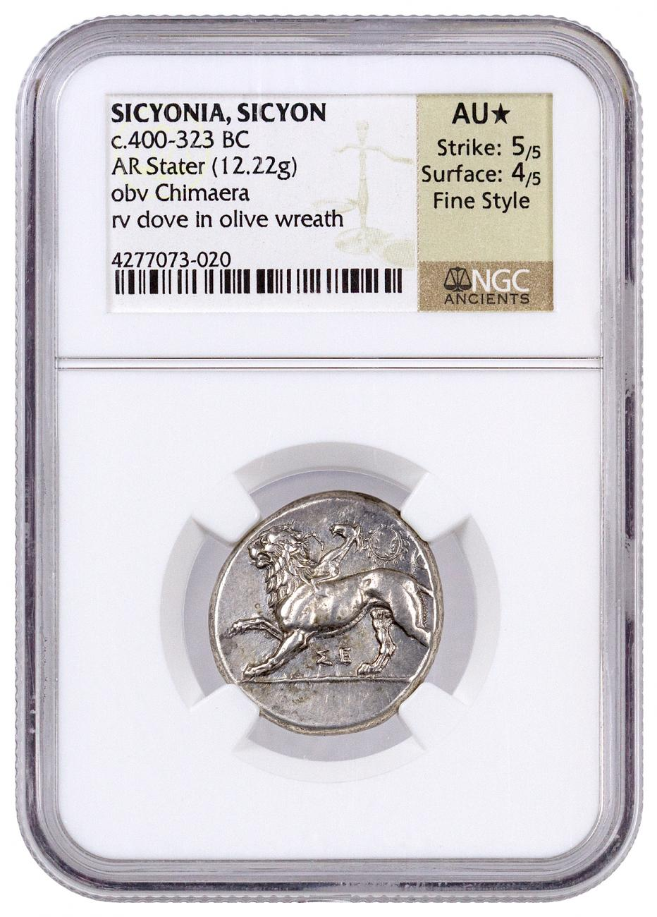 Greek City-State of Sicyon Silver Stater - Chimaera and Dove in Olive Wreath c. 400-232 BC - NGC AU* (Strike: 5/5 - Surface: 4/5)