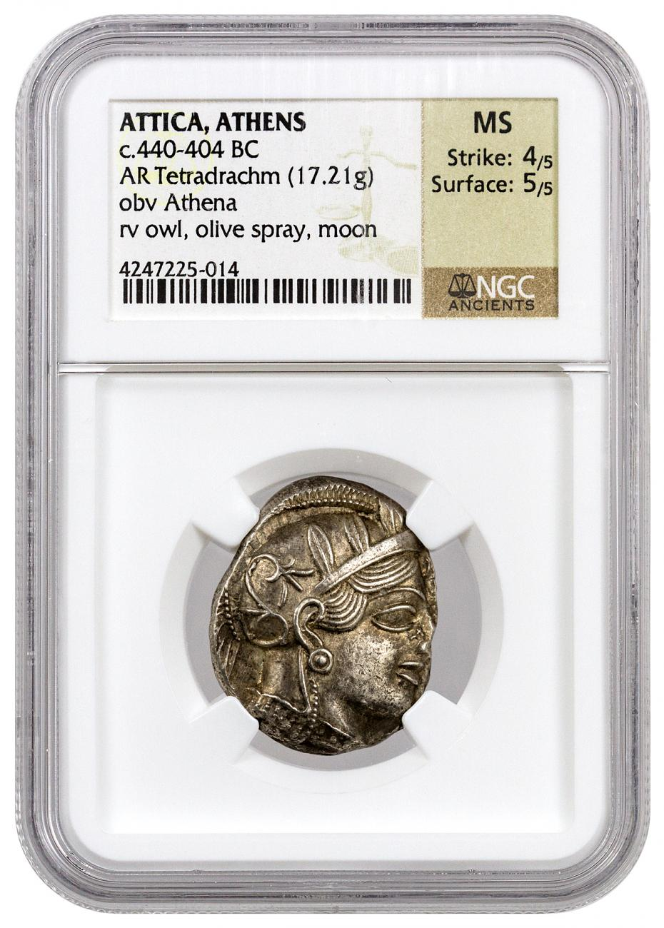 Greek City-State of Athens Silver Tetradrachm - Athena and Owl c. 440-404 BC NGC MS (Strike: 4/5 - Surface: 5/5)