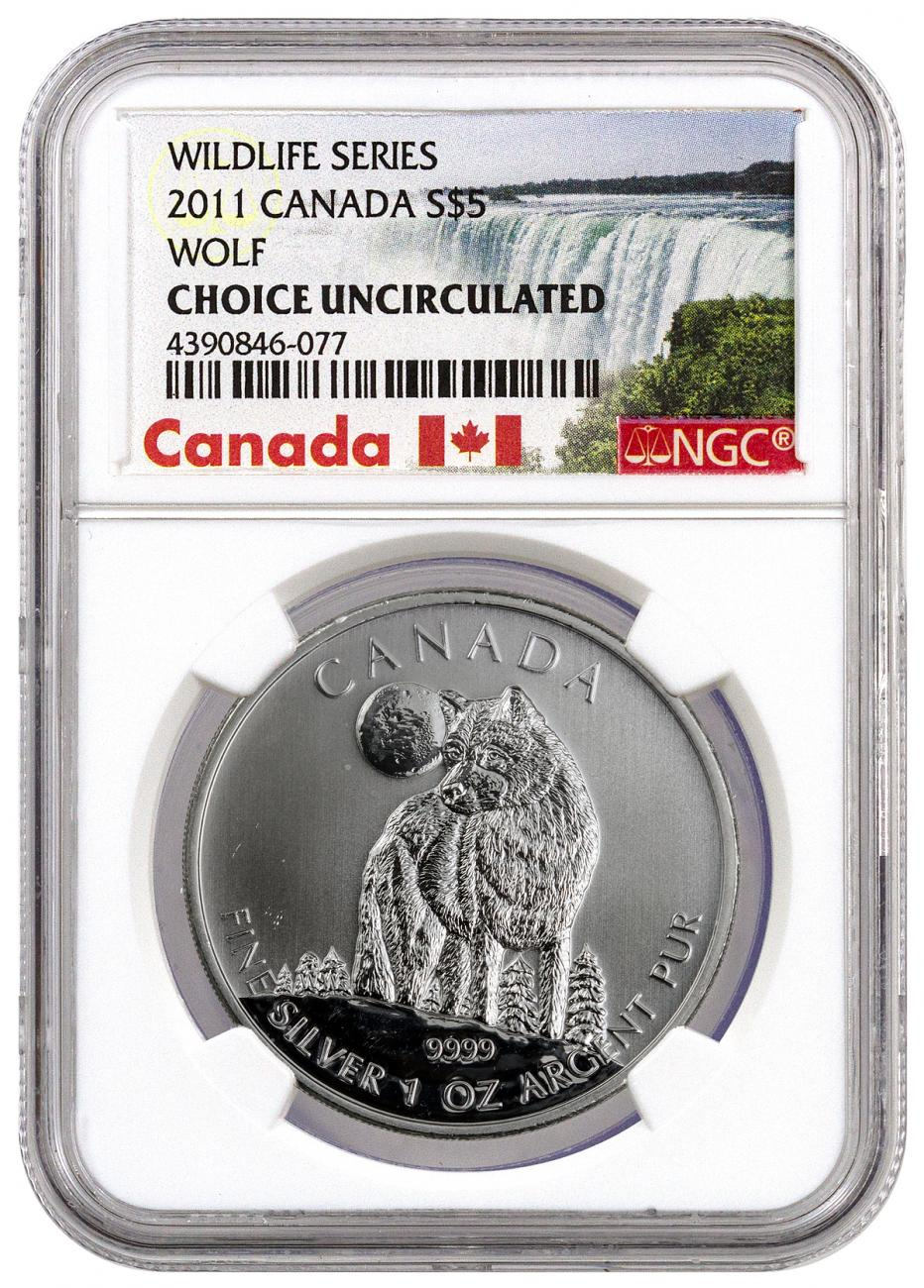 2011 Canada Canadian Wildlife Timber Wolf 1 Oz Silver 5