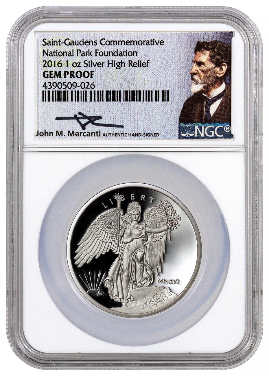 2016 1 oz. High Relief Proof Silver Saint Gaudens - Winged Liberty - NGC Gem Proof (Mercanti Signed Label)