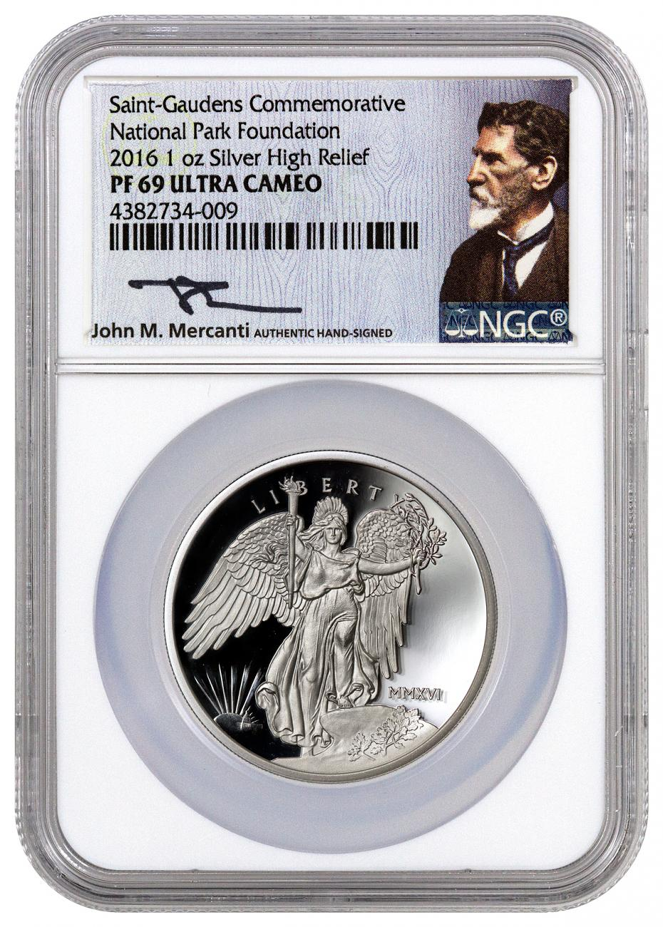 2016 United States Saint-Gaudens Winged Liberty High Relief 1 oz Silver Proof Medal NGC PF69 UC (Mercanti Signed Label)