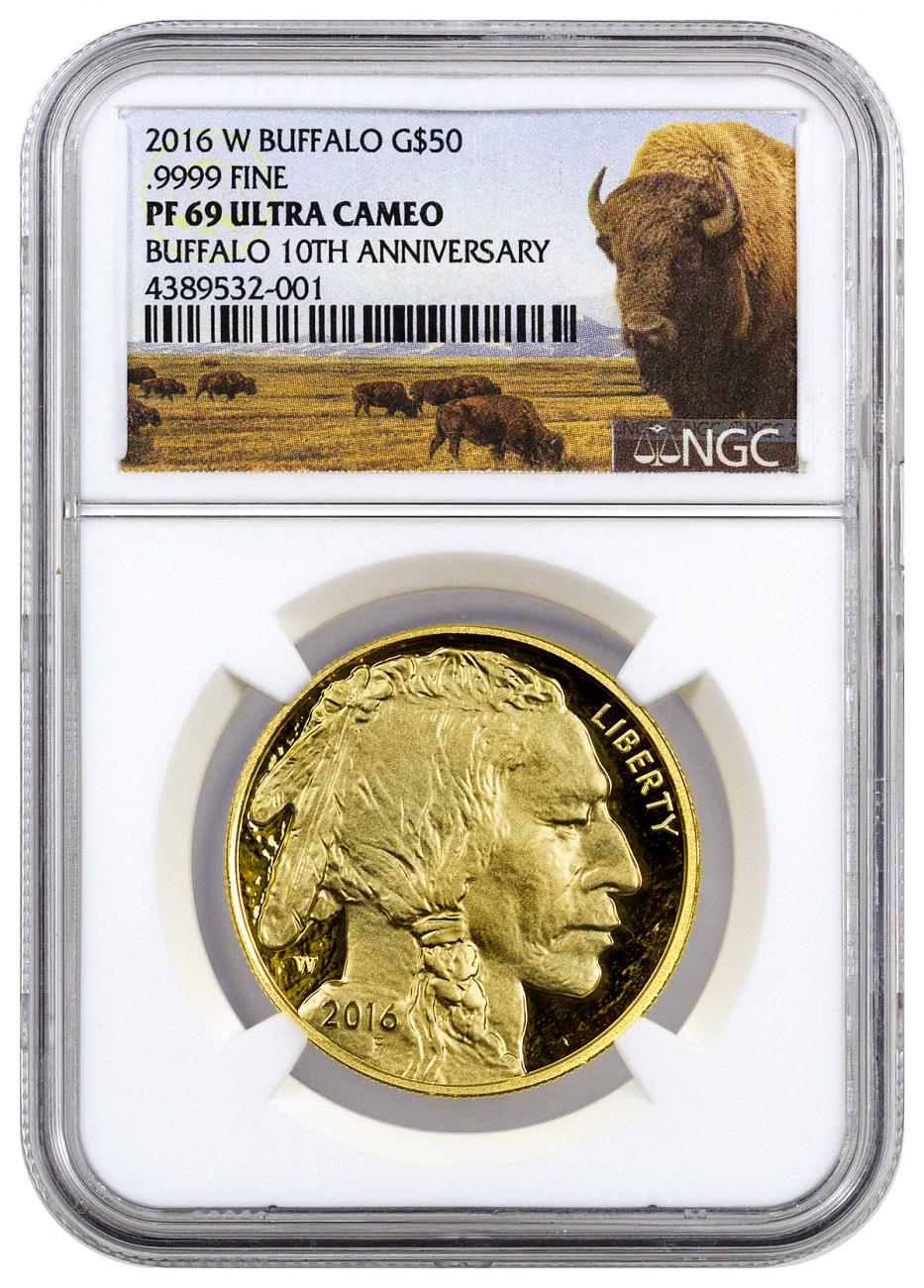 2016-W 1 oz Gold Buffalo Proof $50 NGC PF69 UC (Buffalo Label)