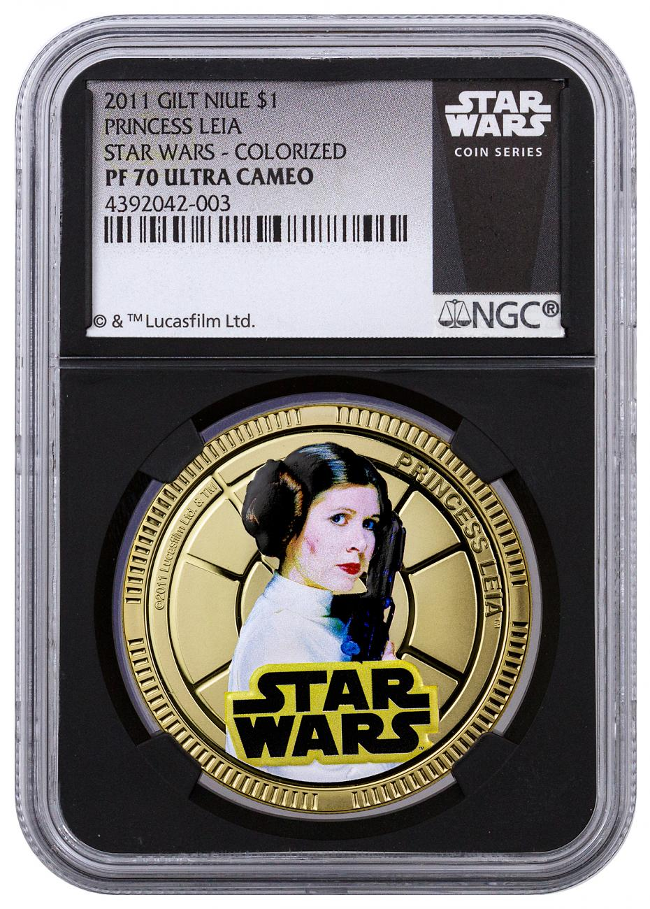 2011 Niue $1 Gilt Colorized Proof Clad Star Wars - Princess Leia - NGC PF70 UC (Exclusive Star Wars Label with Black Core)