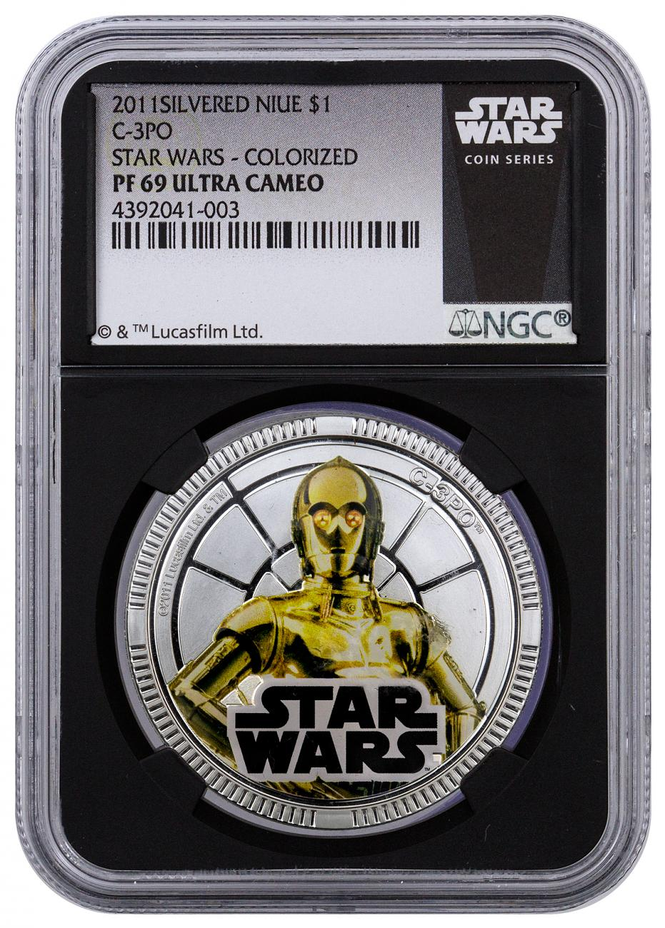 2011 Niue $1 Colorized Proof Silver Plated Star Wars - C-3P0 - NGC PF69 UC (Exclusive Star Wars Label with Black Core)