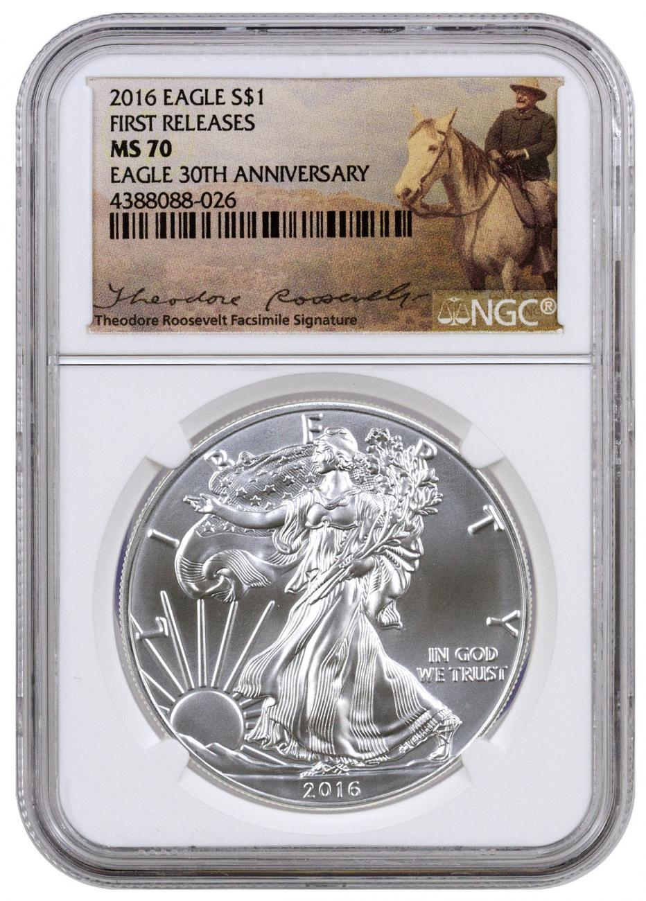 2016 American Silver Eagle - NGC MS70 First Releases (Theodore Roosevelt Label)