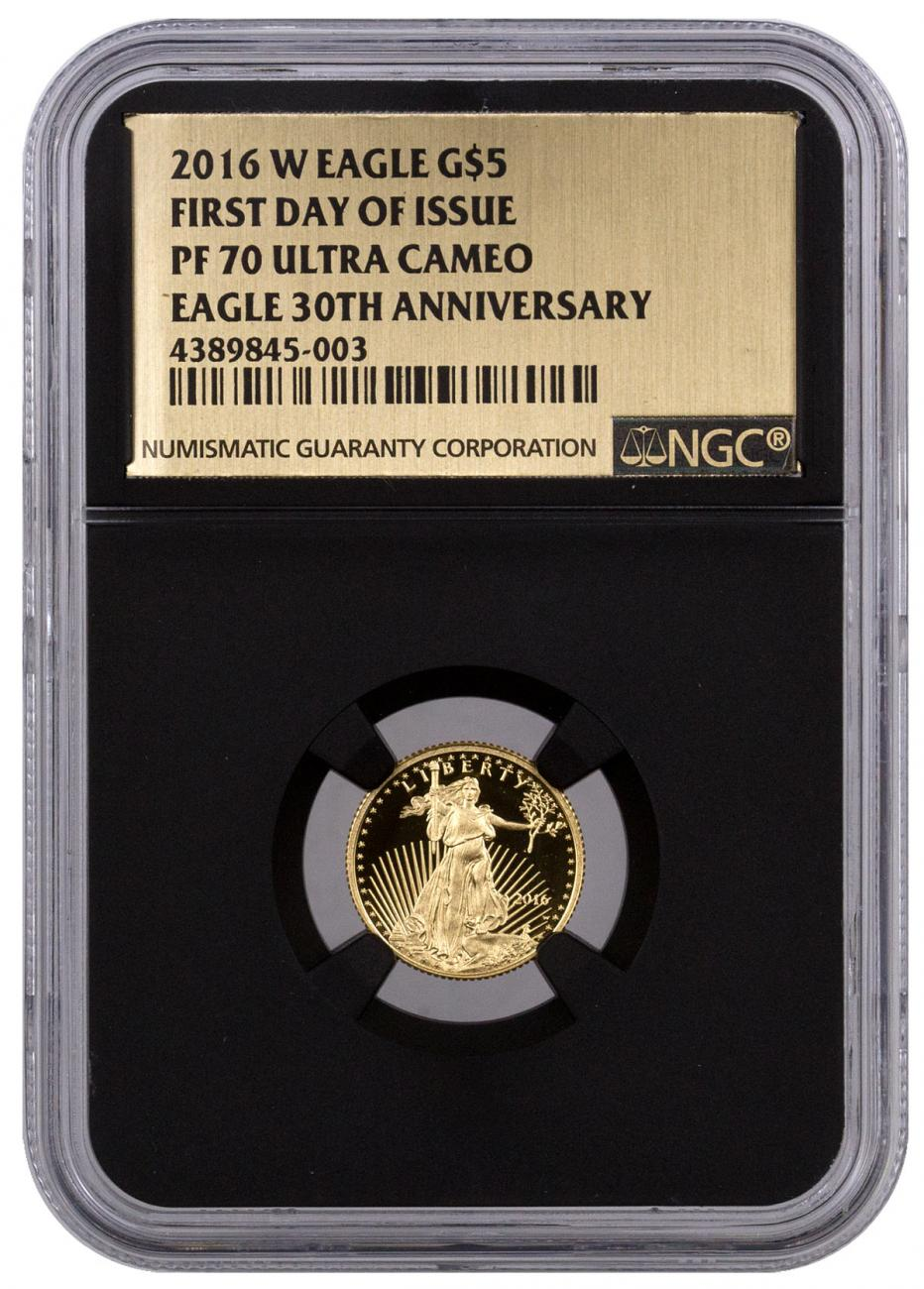 2016-W $5 1/10 oz. Proof American Gold Eagle - NGC PF70 UC First Day of Issue (Gold Foil Label with Black Core)