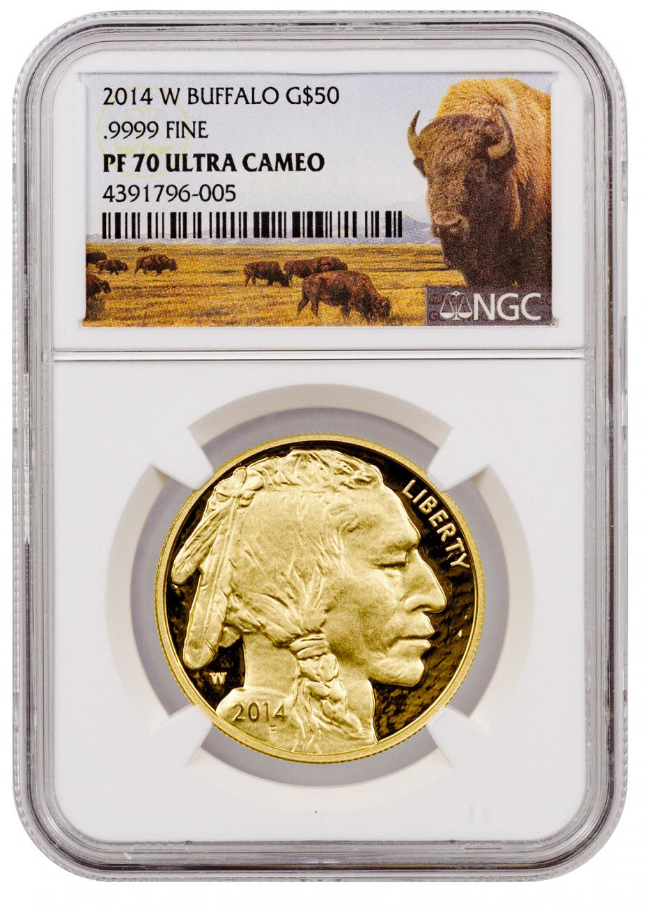 2014-W 1 oz Gold Buffalo Proof $50 NGC PF70 UC (Buffalo Label)