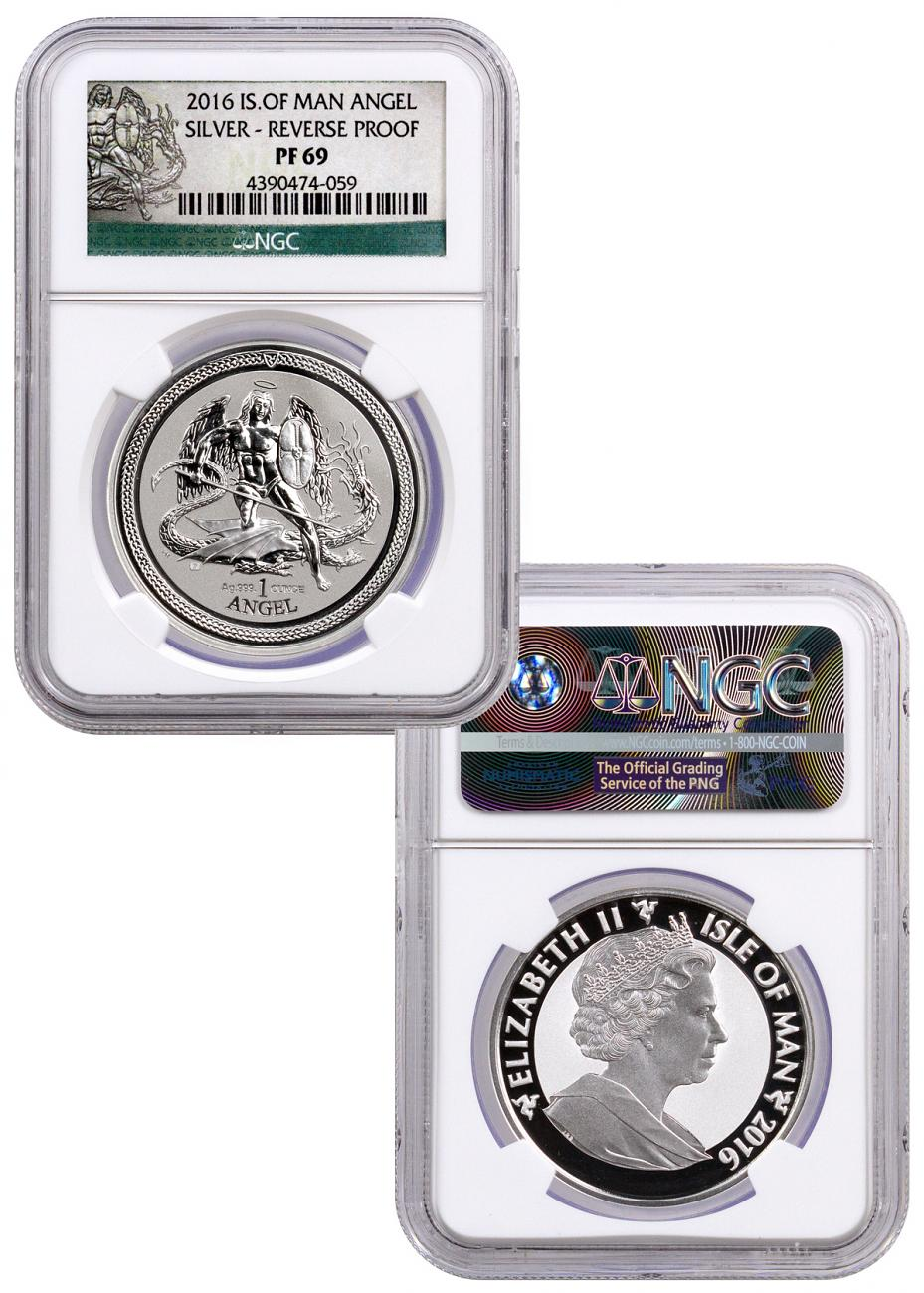 Set of 2 2016 Isle of Man Set of 2 - 1 oz Silver Angel Proof + Reverse Proof NGC PF69 (Angel Label)