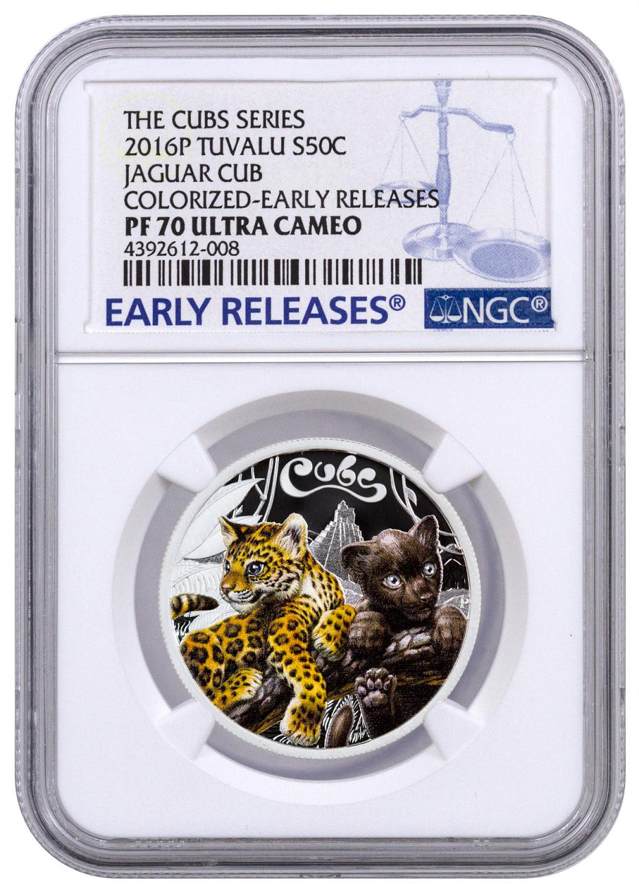 2016-P Tuvalu 50c 1/2 oz. Colorized Proof Silver Jaguar Cubs - NGC PF70 UC Early Releases