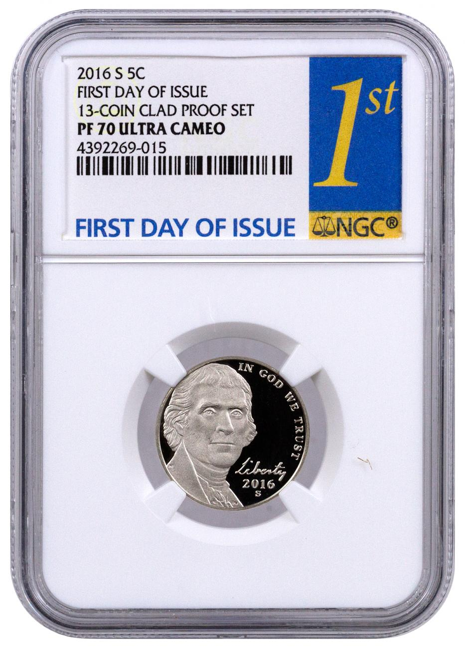2016-S 5c Proof Jefferson Nickel - NGC PF70 UC (First Day of Issue Label)