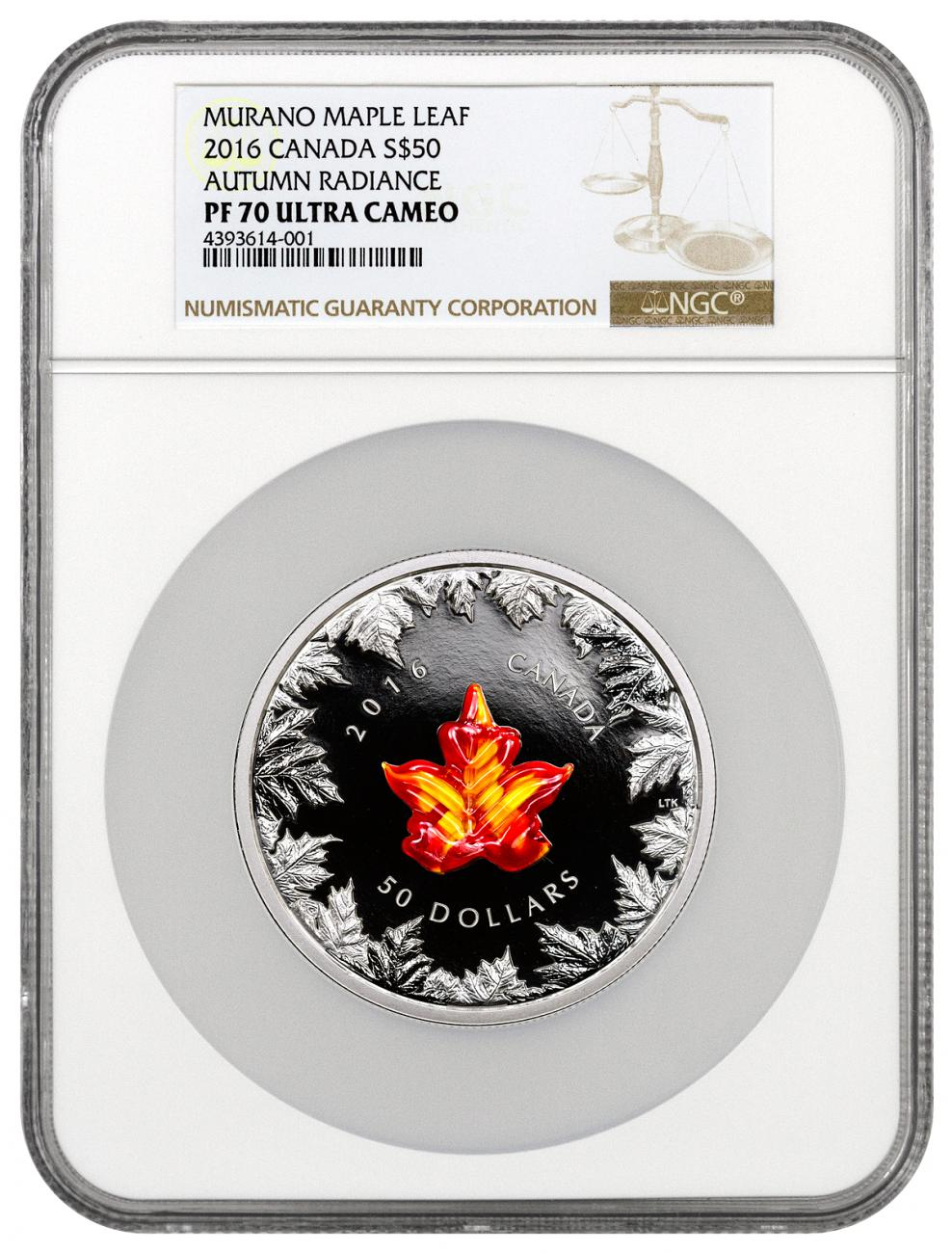 2016 Canada $50 5 oz. Proof Silver Murano Glass Maple Leaf - Autumn Radiance - NGC PF70 UC