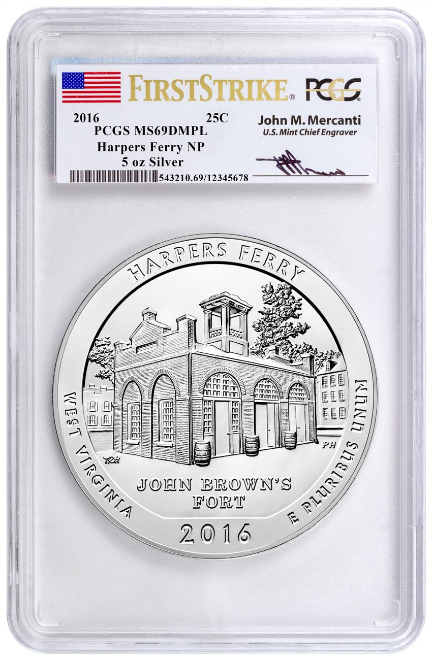 2016 25c 5 oz. Silver America the Beautiful - Harpers Ferry - PCGS MS69 DMPL First Strike (Mercanti Signed Label)