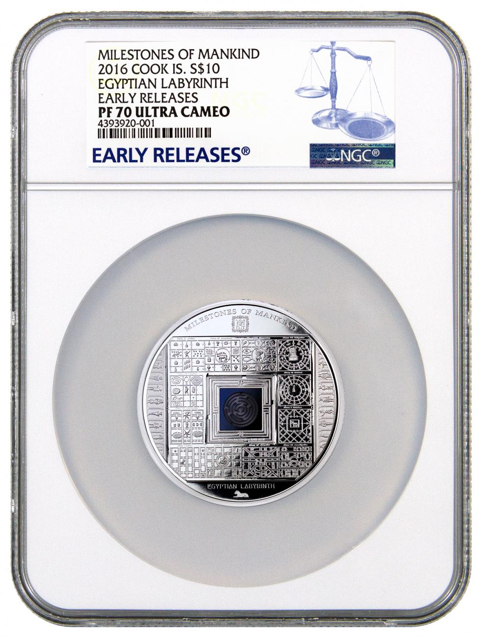 2016 Cook Islands $10 50g Proof Silver Milestones of Mankind - Egyptian Labyrinth - NGC PF70 UC Early Releases