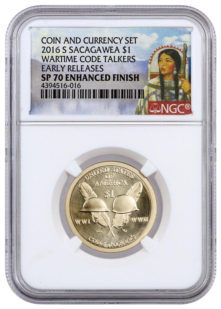2016-S $1 Coin and Currency Set - Code Talkers - NGC SP70 Early Releases with PMG GEM Uncirculated Banknote