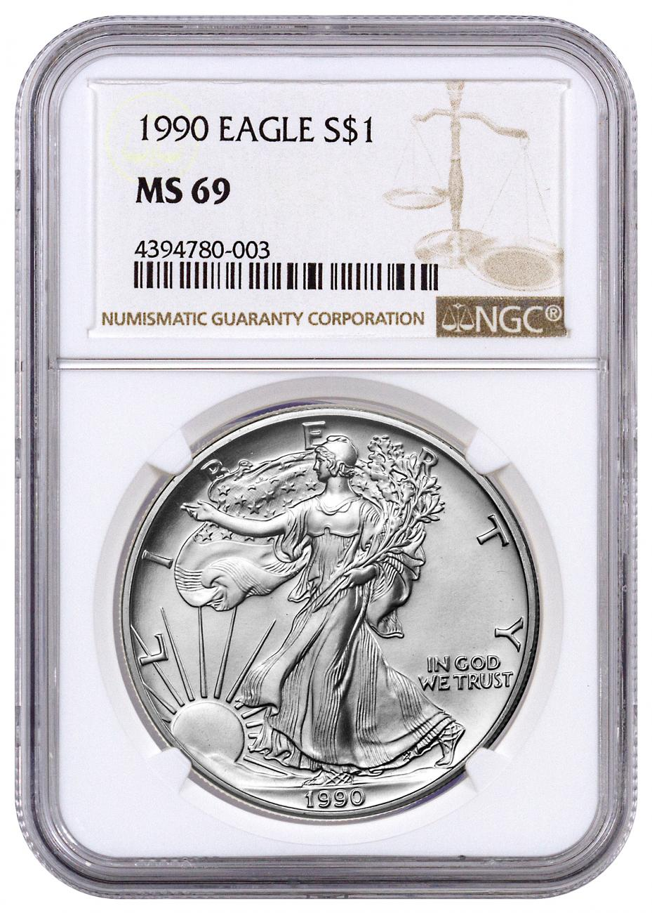 1990 American Silver Eagle Ngc Ms69 Moderncoinmart