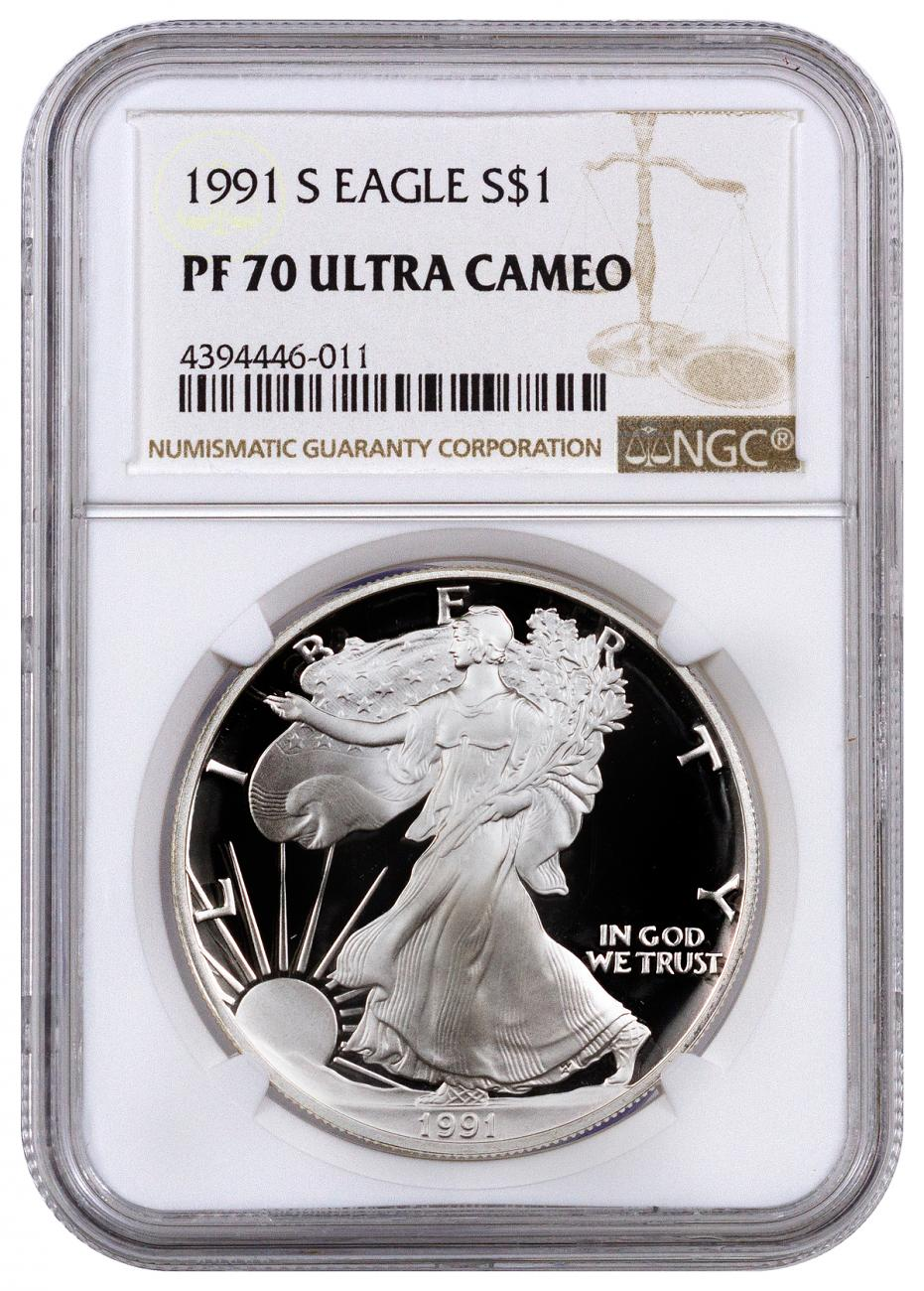 1991 S American Silver Eagle Proof Ngc Pf70 Uc