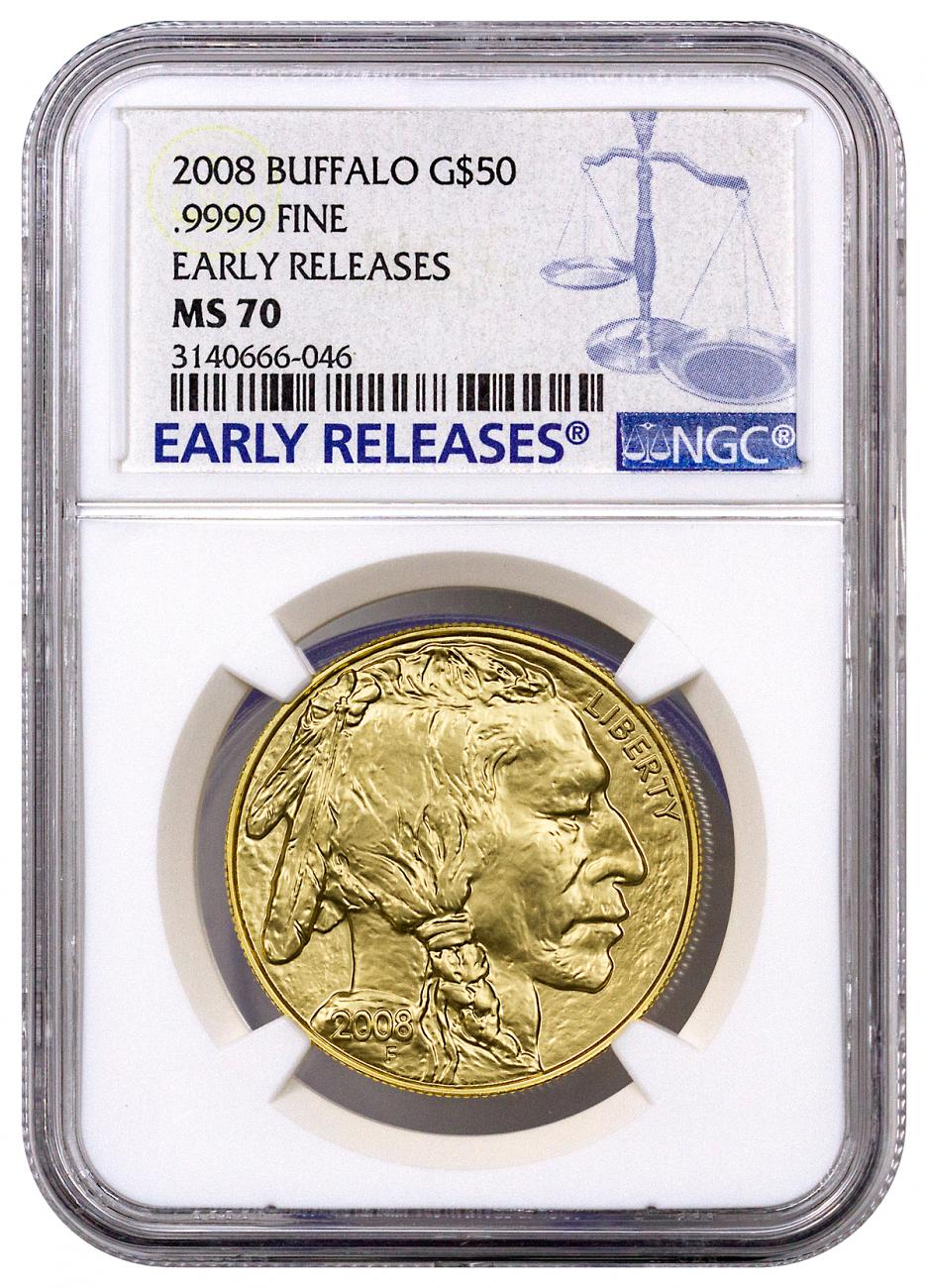 2008 1 oz Gold Buffalo $50 Coin NGC MS70 ER