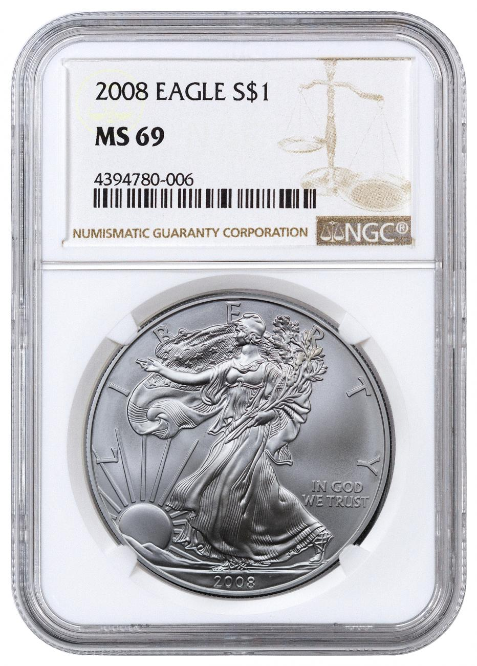 2008 American Silver Eagle NGC MS69