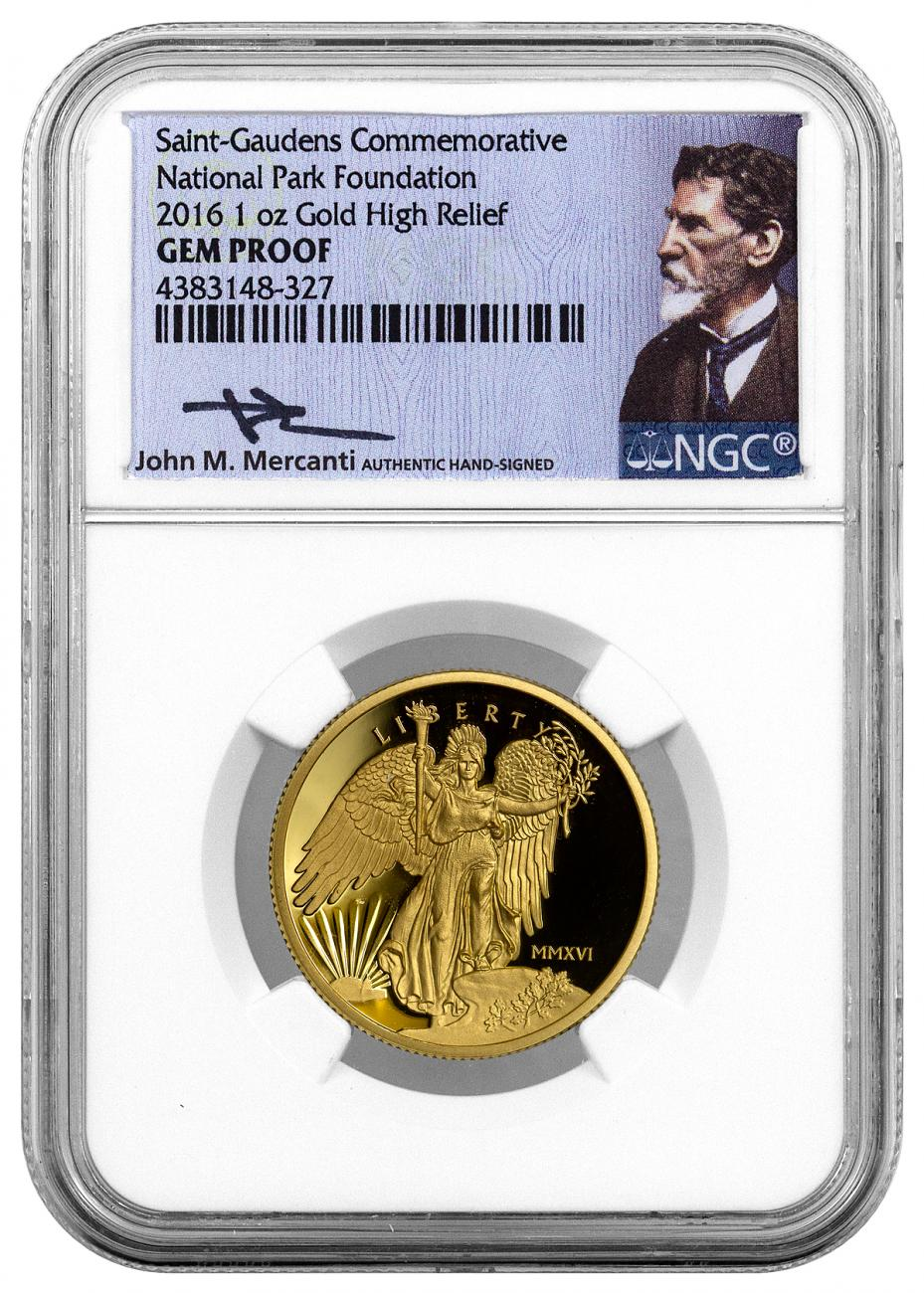 2016 United States Saint-Gaudens Winged Liberty High Relief 1 oz Gold Proof Medal NGC GEM Proof (Mercanti Signed Label)