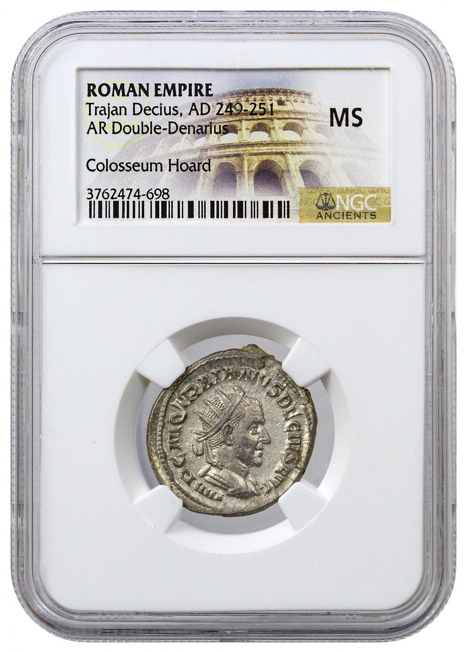 Roman Empire Silver Double Denarius of Trajan Decius (AD 249-251) - NGC MS