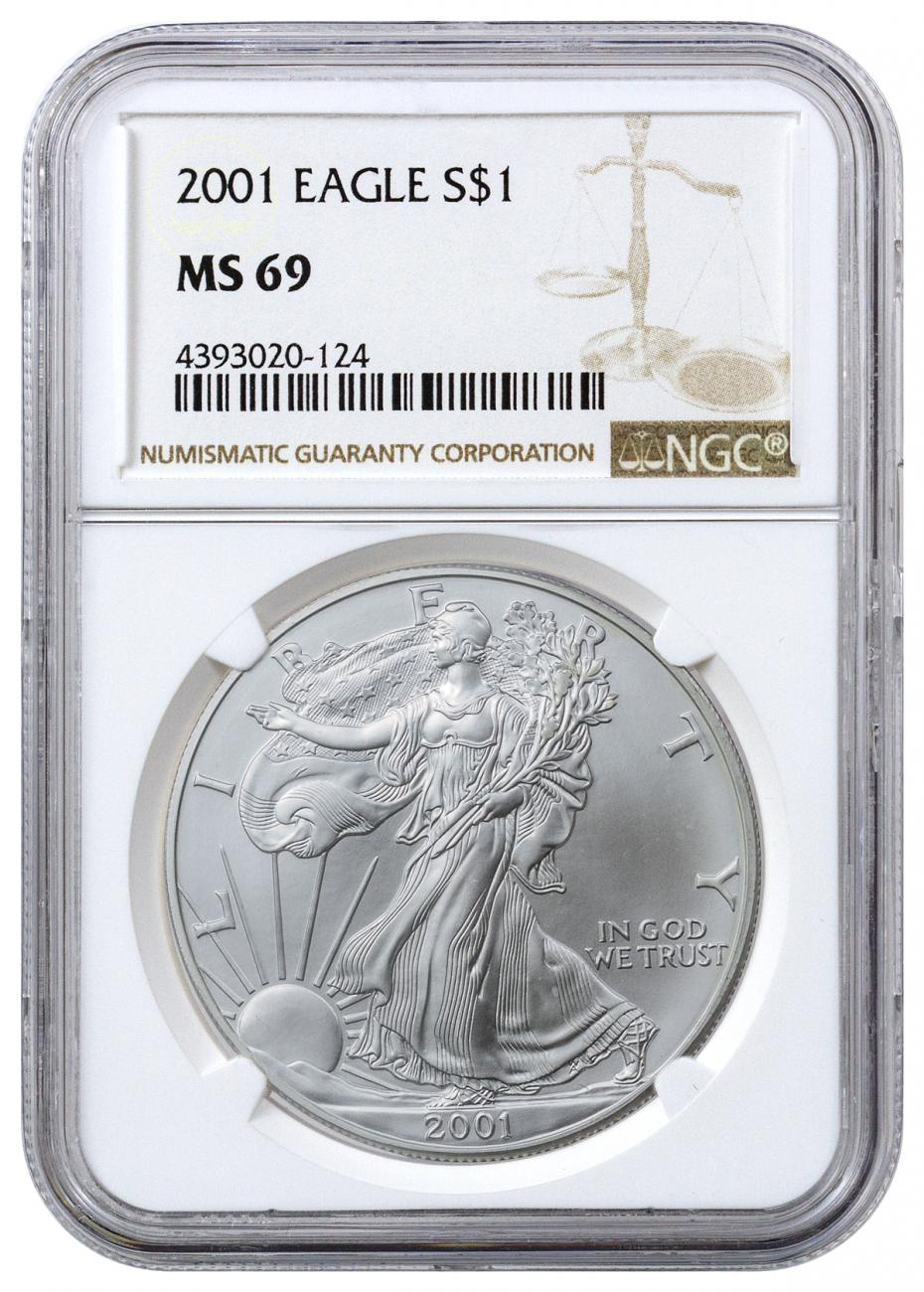 2001 American Silver Eagle Ngc Ms69 Moderncoinmart