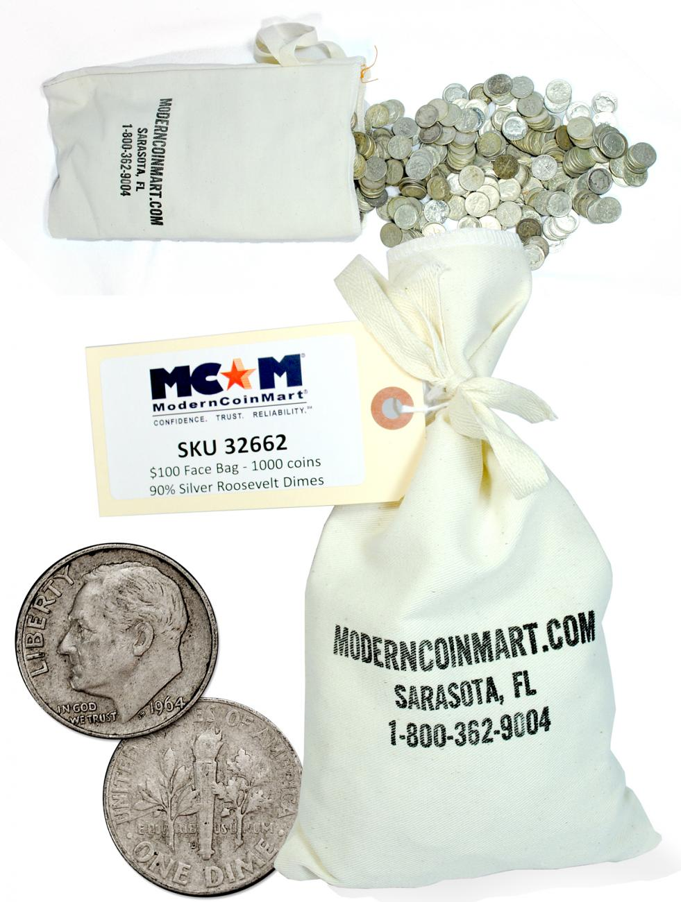 $100 Face Value Bag (1000) Coins 1946-1964 Silver Roosevelt Dimes