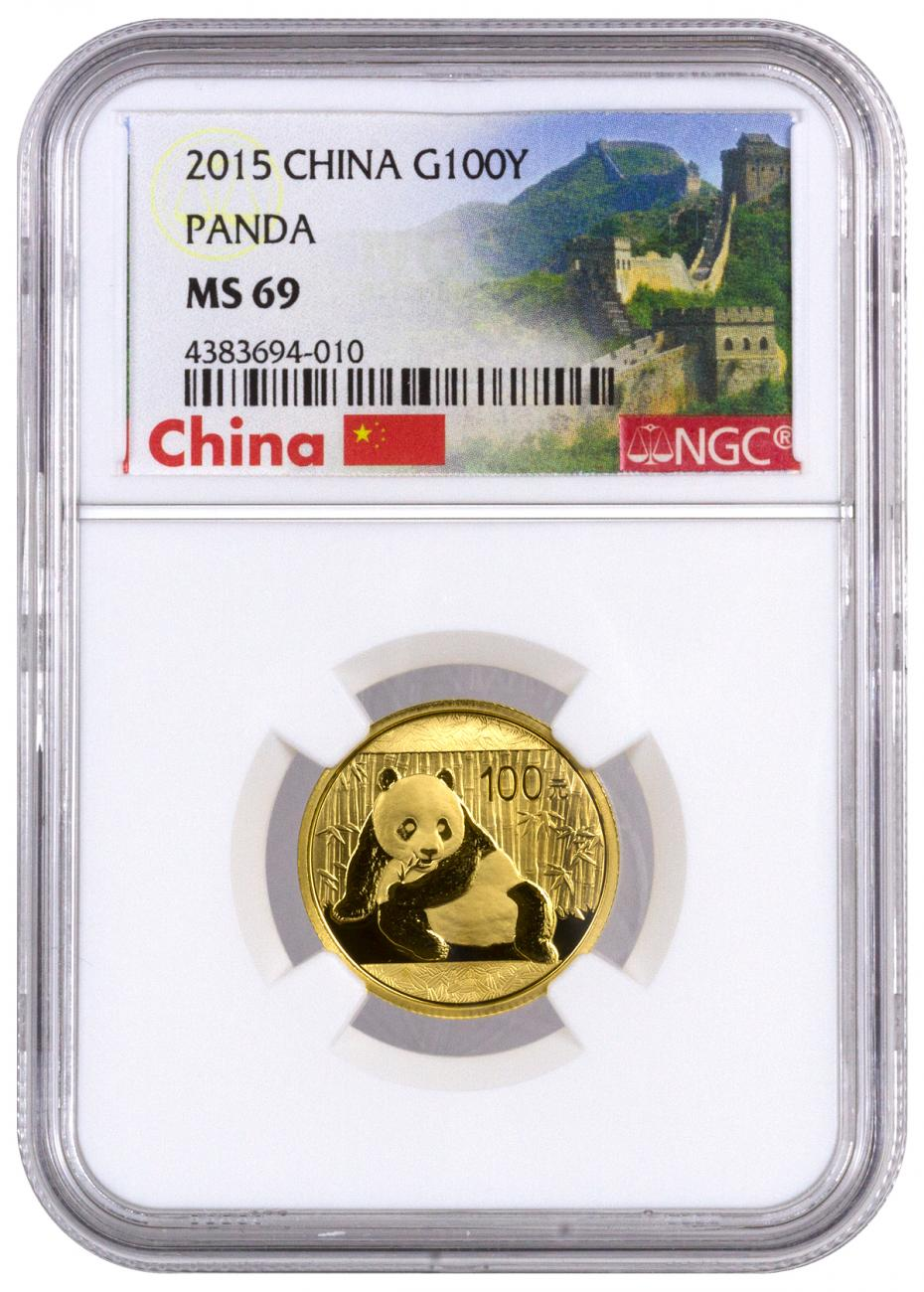 2015 China 1/4 oz Gold Panda ¥100 Coin NGC MS69 (Exclusive Great Wall Label)