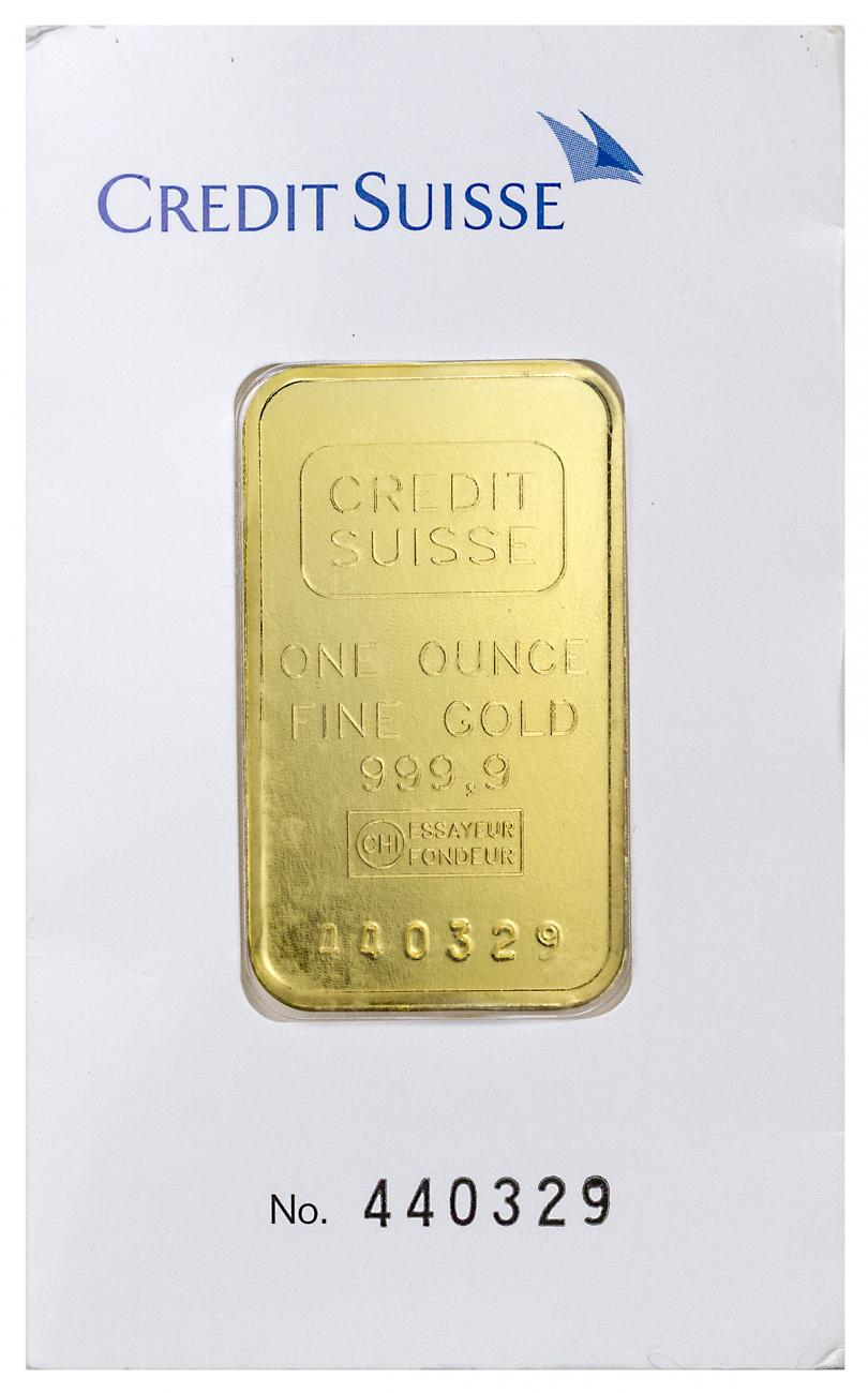 Credit Suisse 1 oz. Gold Bar - (New Sealed With Assay Certificate - Type 1 Cardboard Holder)