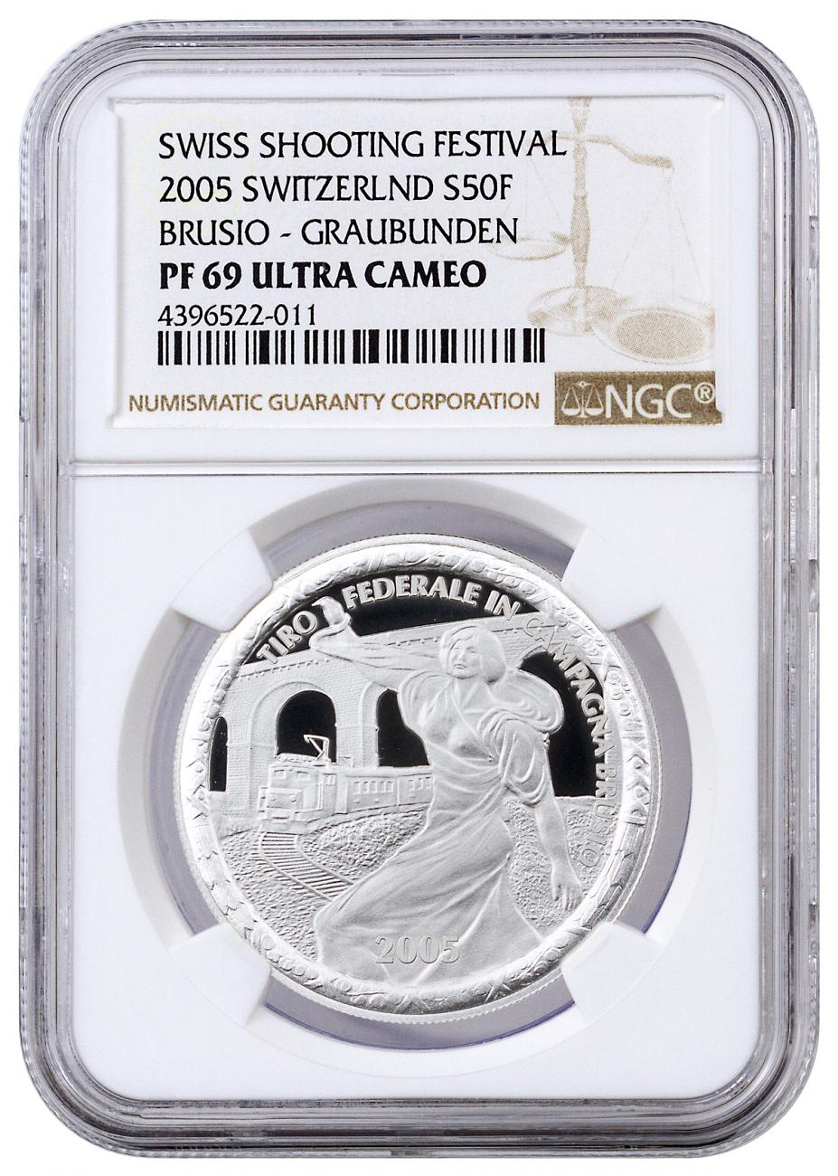 2005 Switzerland 50 Francs Proof Silver Shooting Festival Thaler - Brusio-Graubunden - NGC PF69 UC