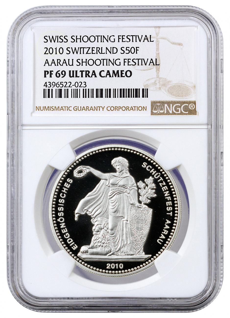 2010 Switzerland Shooting Festival Thaler - Aarau Silver Proof Fr.50 NGC PF69 UC