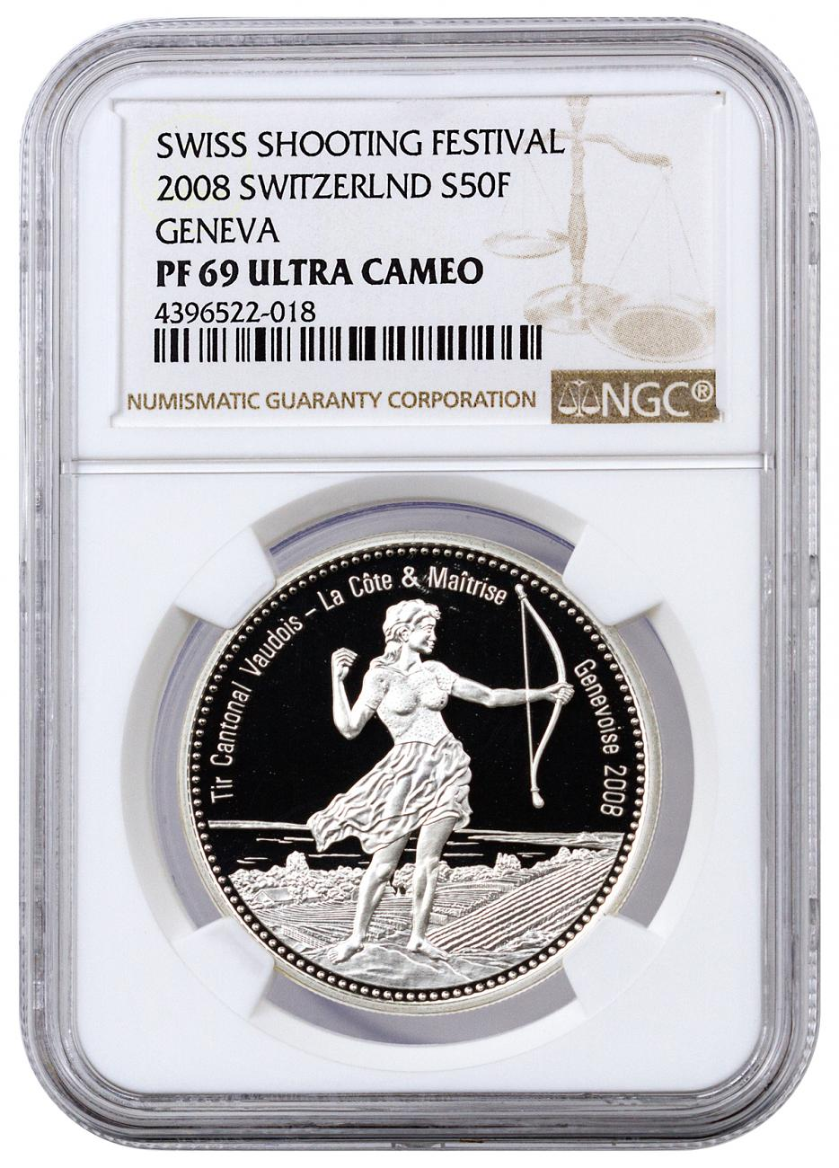 2008 Switzerland 50 Francs Proof Silver Shooting Festival Thaler - Geneva - NGC PF69 UC