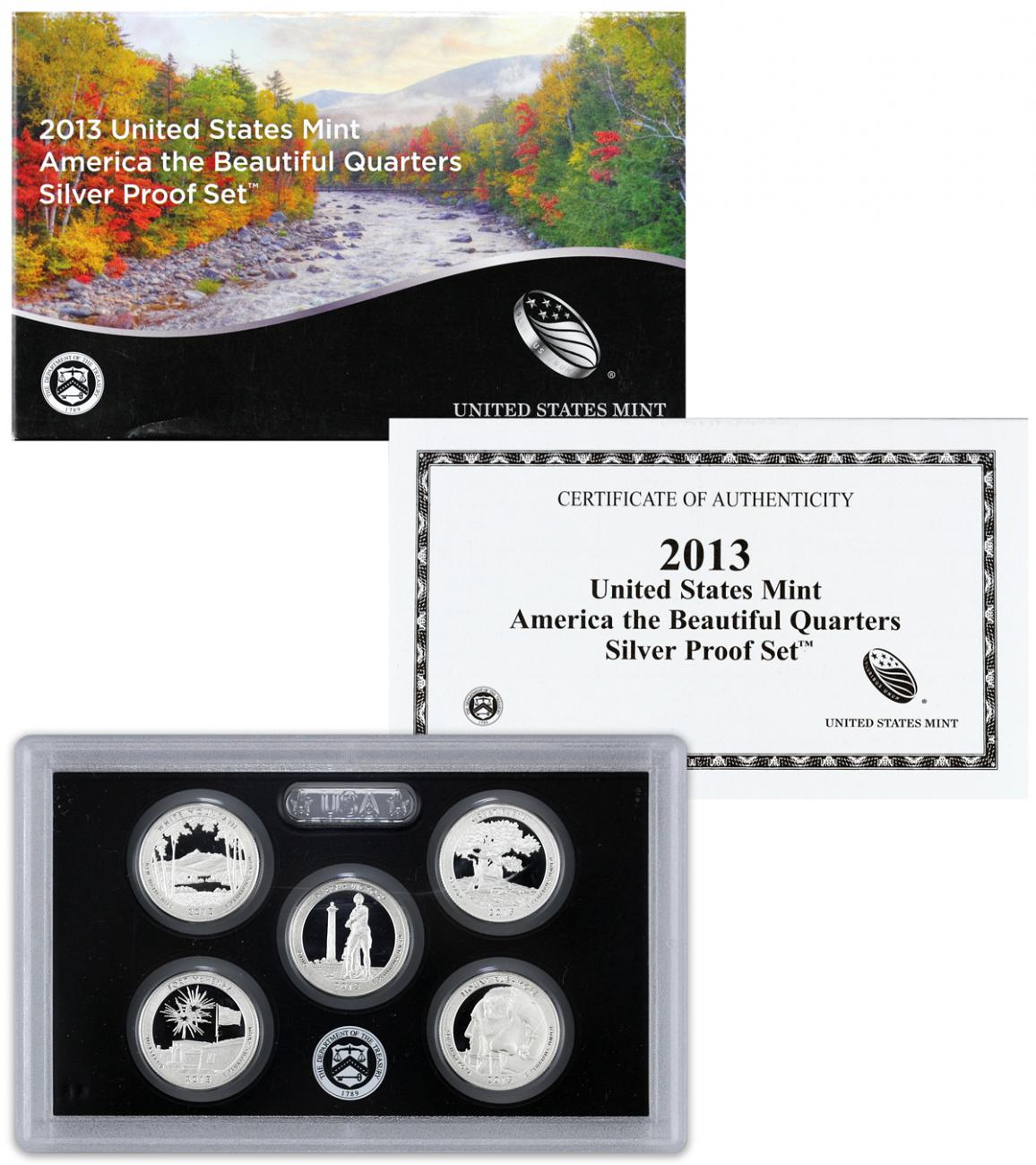 2013-S U.S. America the Beautiful Silver Proof Quarter Set GEM Proof OGP