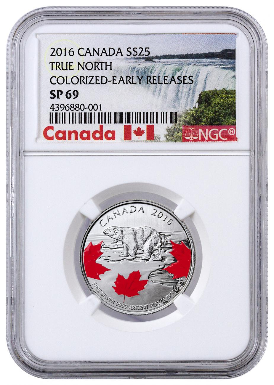 2016 Canada $25 1/4 oz. Colorized Specimen Silver True North - NGC SP69 Early Releases (Exclusive Canada Label)