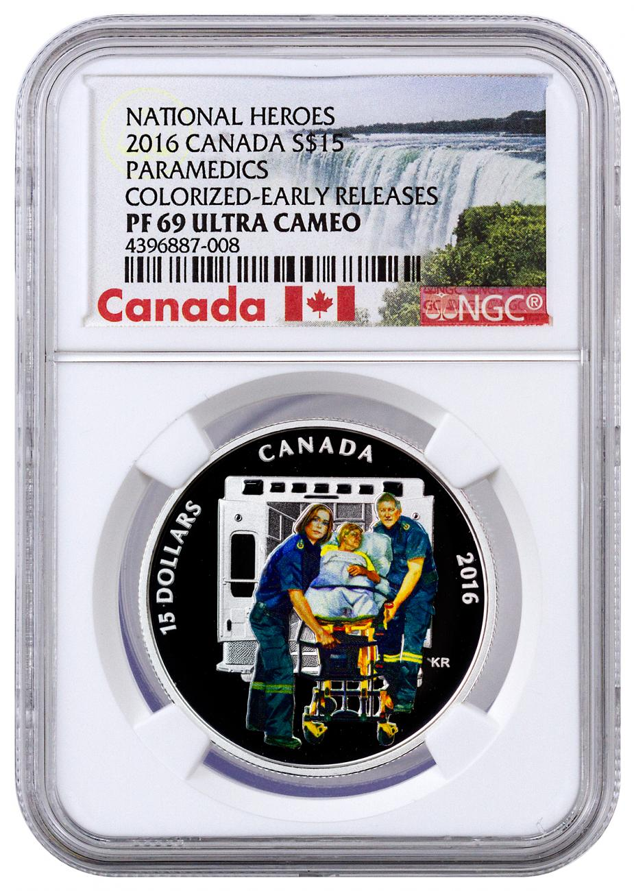 2016 Canada $15 3/4 oz. Colorized Proof Silver National Heroes - Paramedics - NGC PF69 UC Early Releases (Exclusive Canada Label)