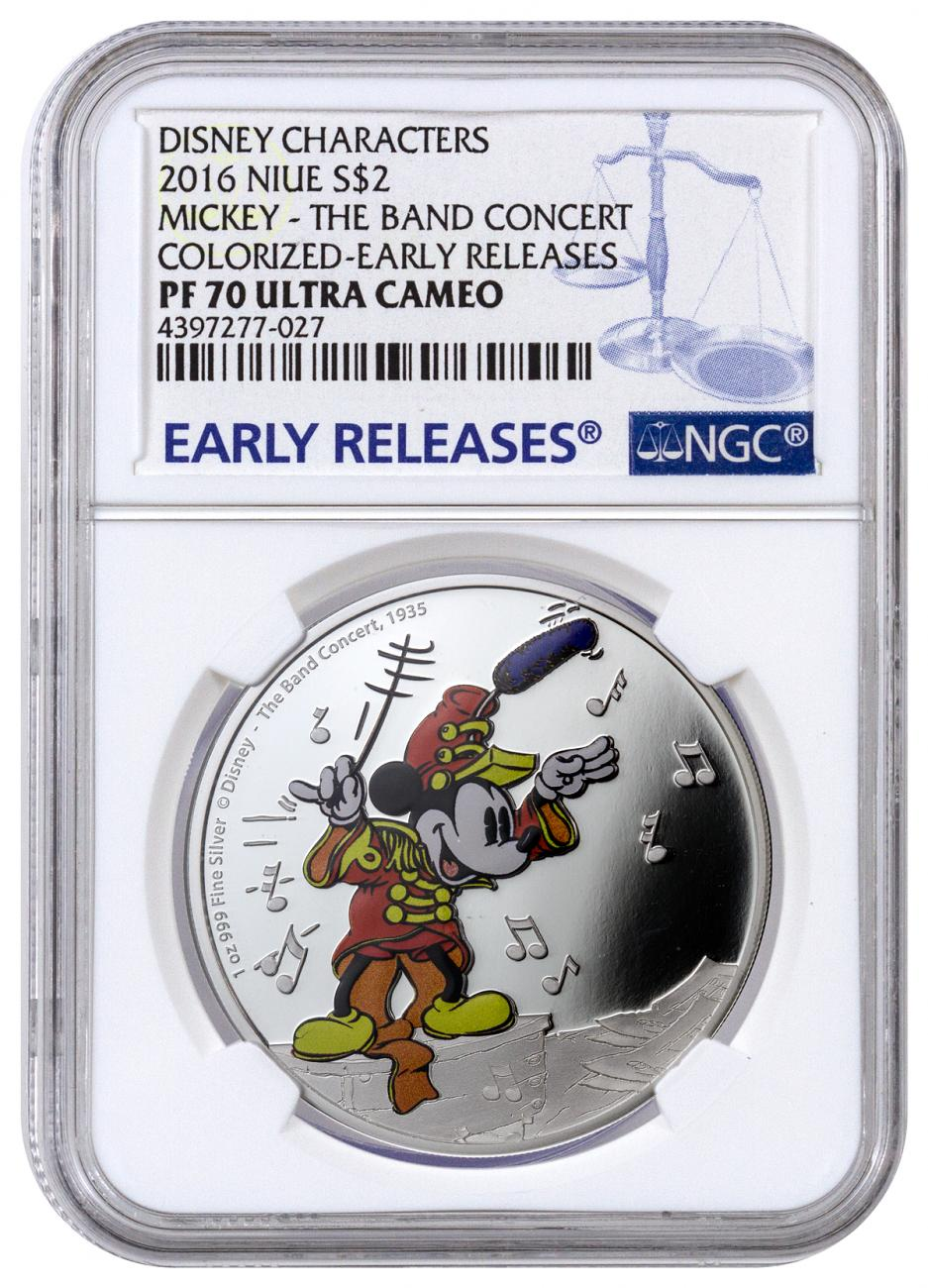 2016 Niue $2 1 oz. Colorized Proof Silver Disney - Mickey the Band Concert - NGC PF70 UC Early Releases