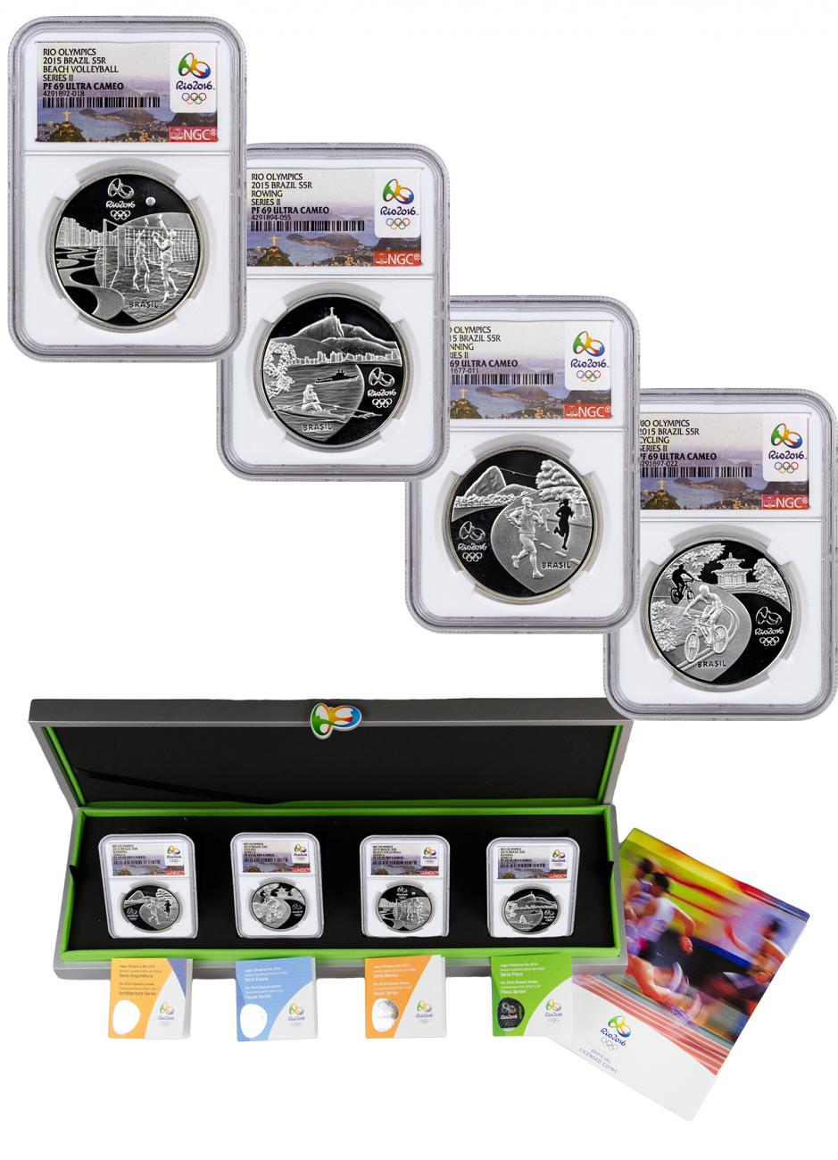 2015 Brazil 5 Reais Proof Silver Rio 2016 Olympics Series 2 - Set of 4 Coins - NGC PF69 UC (Rio 2016 Label)