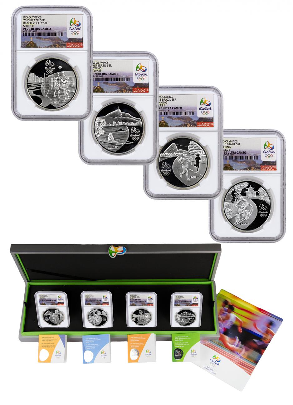 2015 Brazil 5 Reais Silver Proof Rio 2016 Olympics Series 2 - Set of 4 Coins - NGC PF70 UC (Rio 2016 Label)