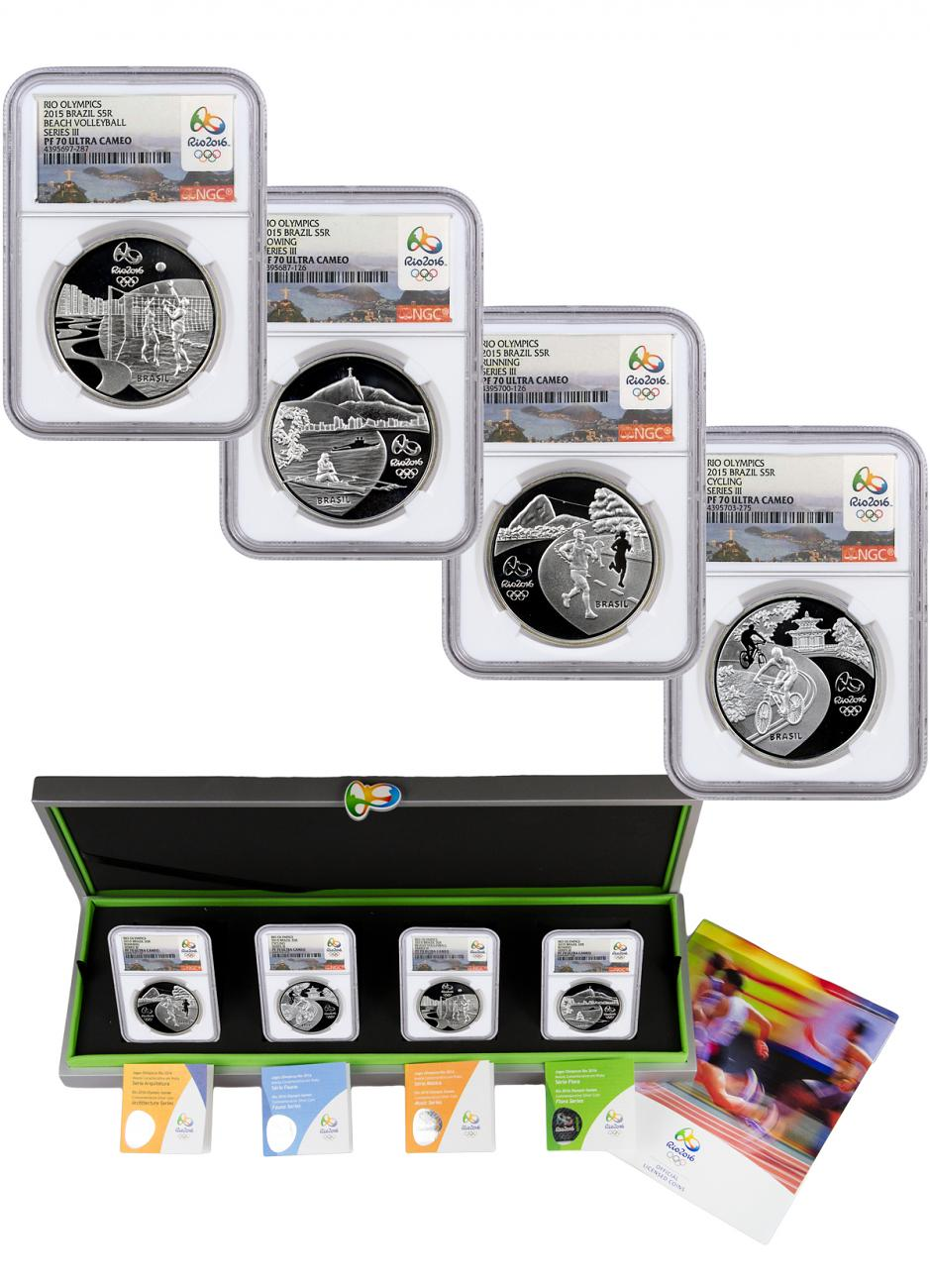 2014 Brazil 5 Reais Proof Silver Rio 2016 Olympics Series 3 - Set of 4 Coins - NGC PF70 UC (Rio 2016 Label)