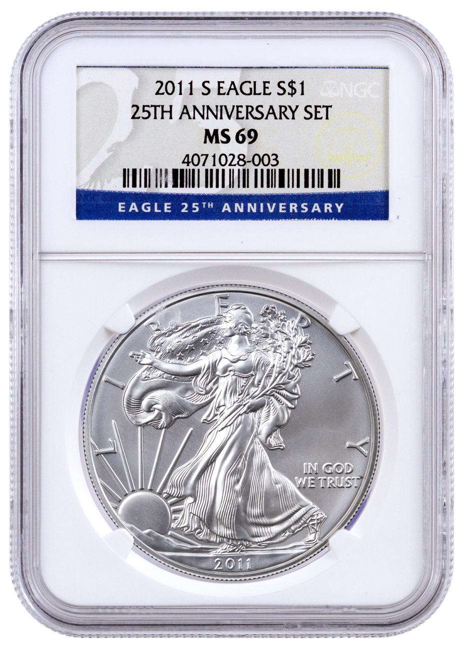 2011-S San Francisco Silver Eagle NGC MS69 25th Anniversary of Silver Eagle Label