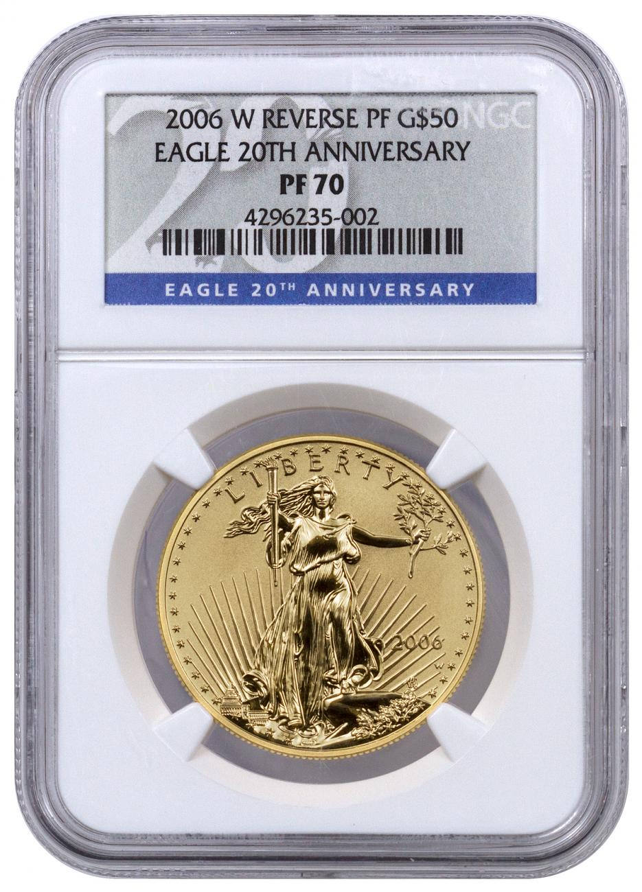 2006 W 1 Oz Reverse Proof Gold Eagle 50 20th Anniversary
