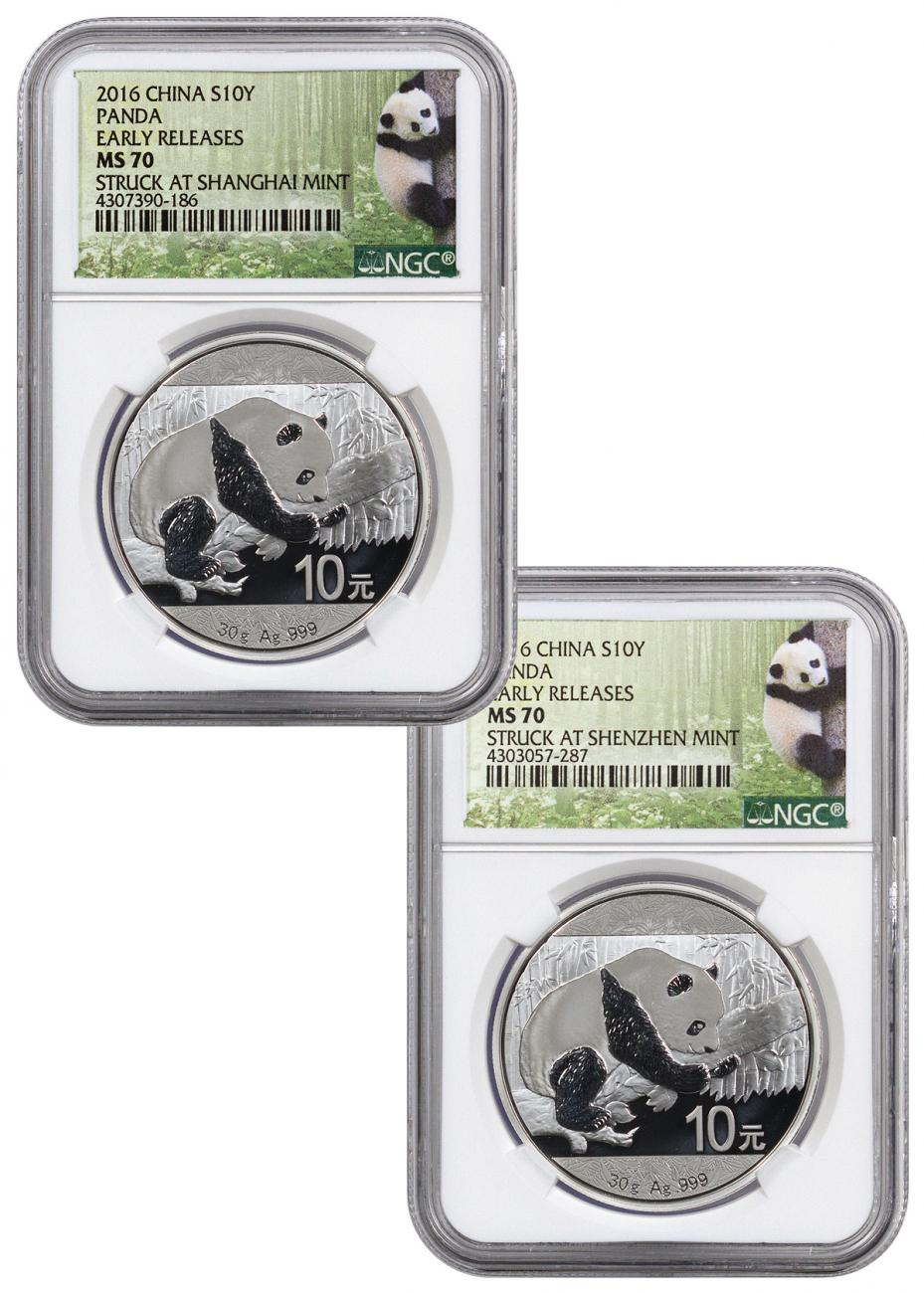 2-Coin Set of 2016 China 30 g Silver Panda - Struck At Shenzhen and Shanghai Mints NGC MS70 ER (Panda Label)